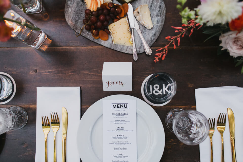 black white and gold place setting custom menu austin wedding