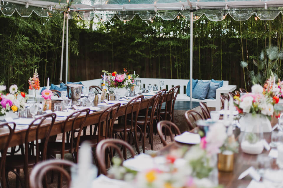 long dark wood tables for hotel st cecilia wedding