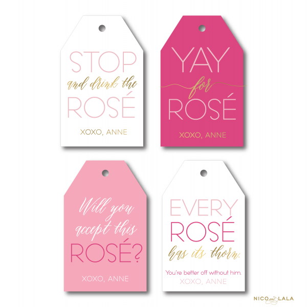 rosé wine bottle gift tags