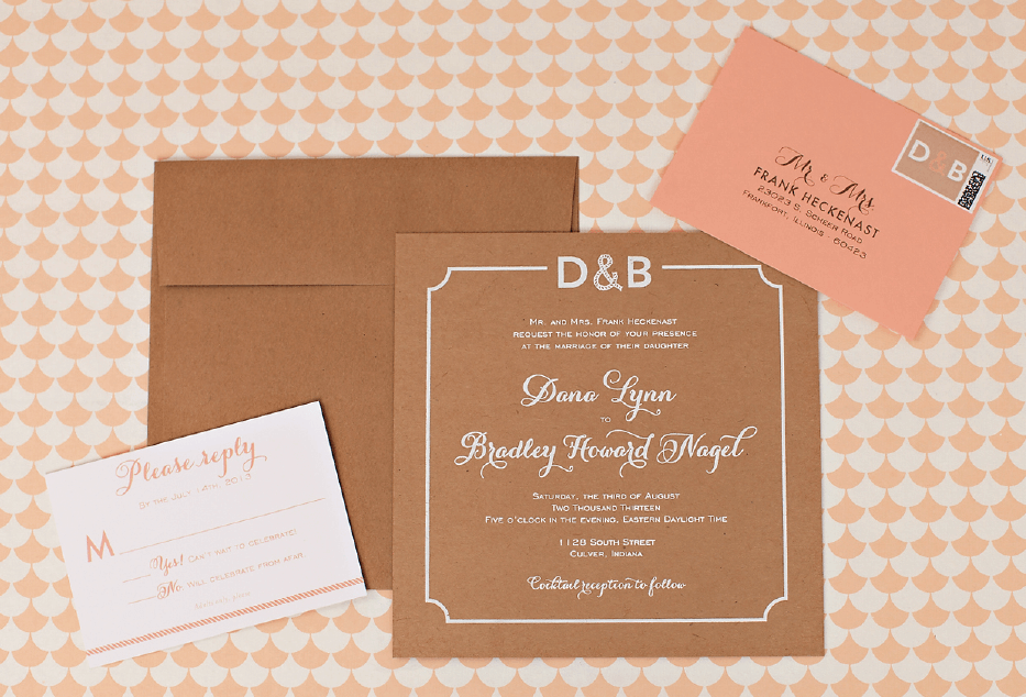 Square Lake Wedding Invitation