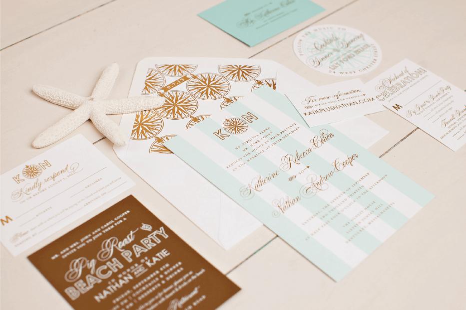 Gold Foil Nantucket Wedding Invitation