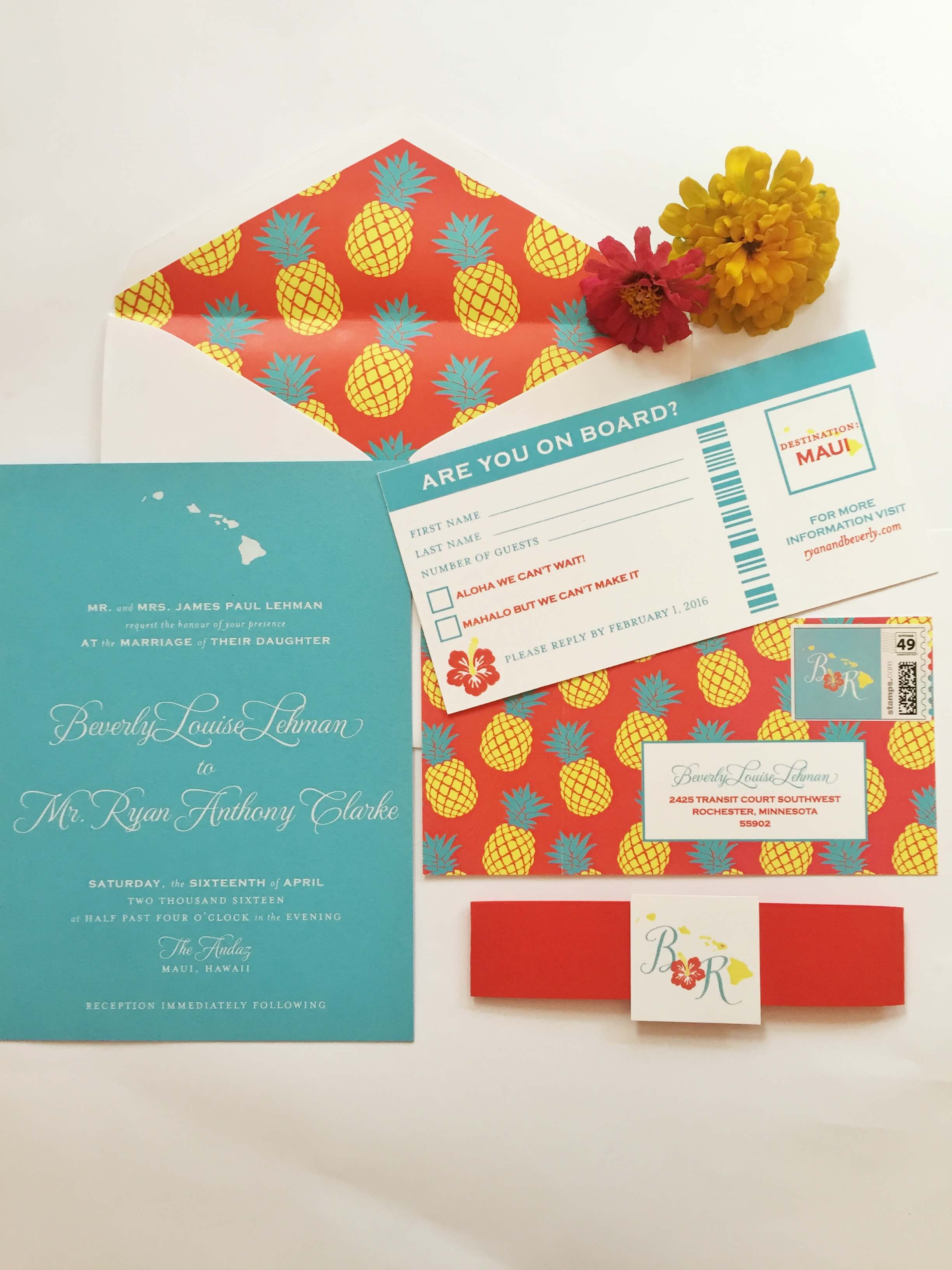 turquoise hawaii wedding invitations with pineapple pattern and boarding pass
