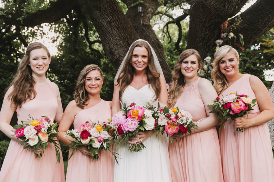 retro austin wedding bridal party