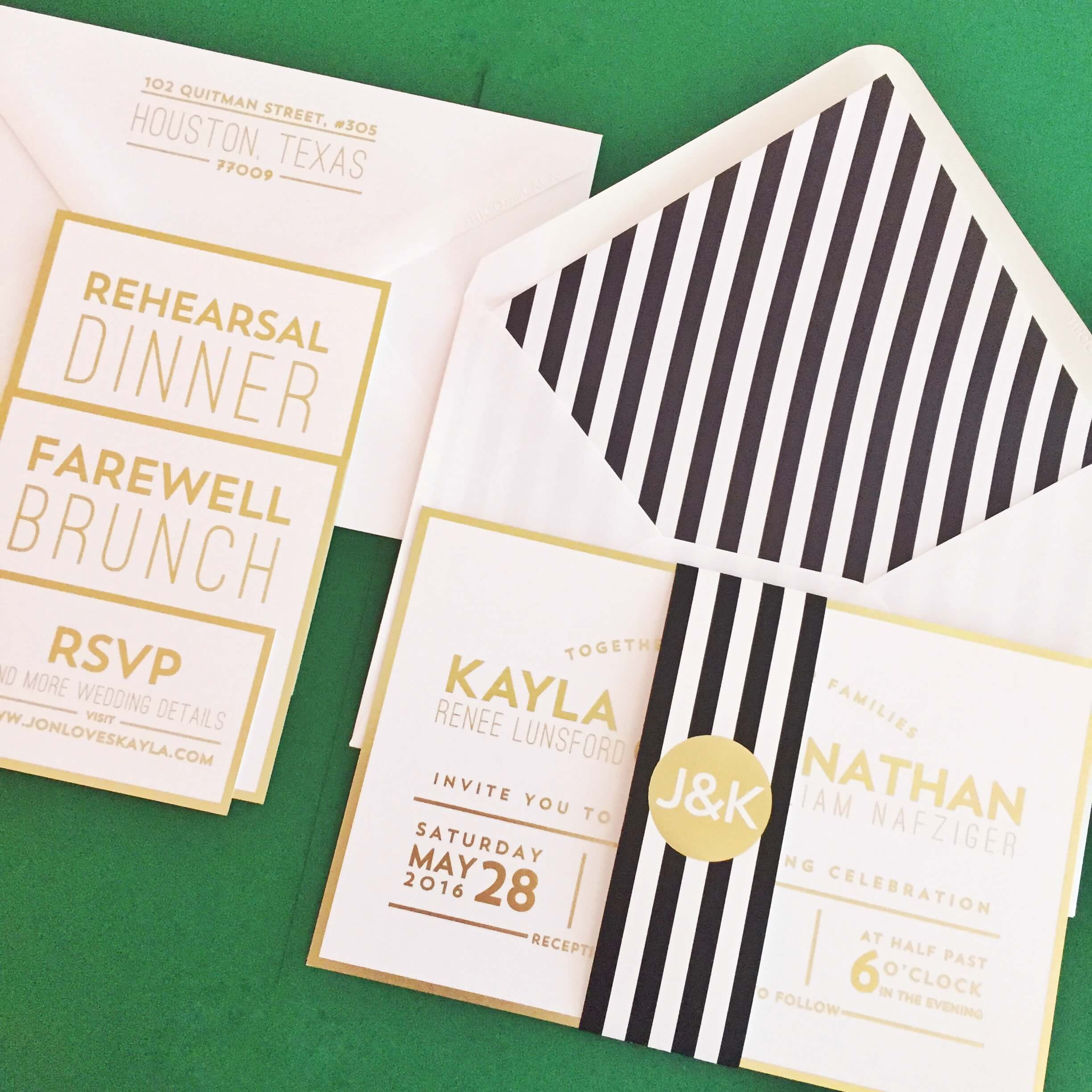 retro Austin wedding invitations