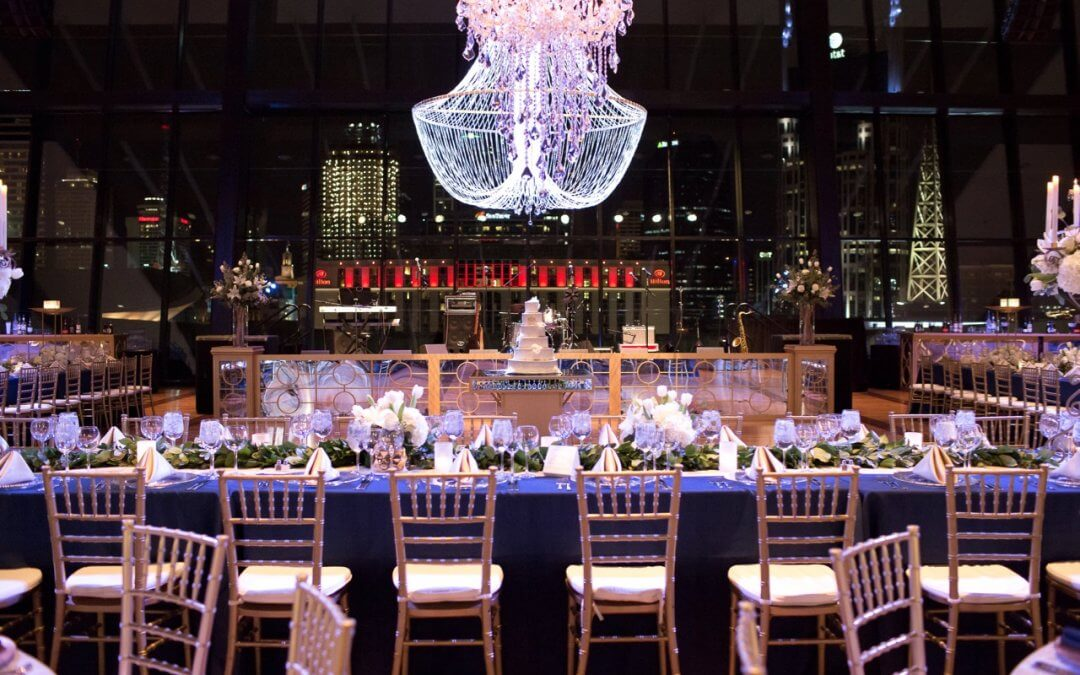 Navy and Gold Downtown Nashville Wedding