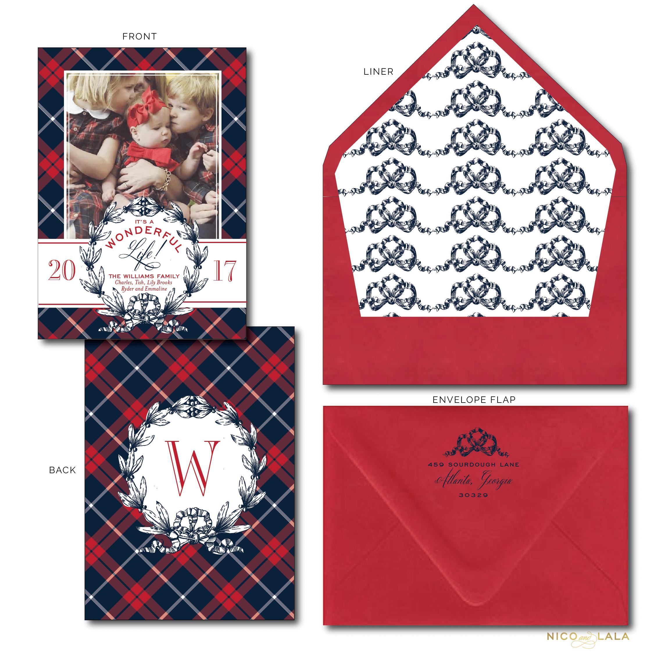 traditional plaid christmas card nico and lala