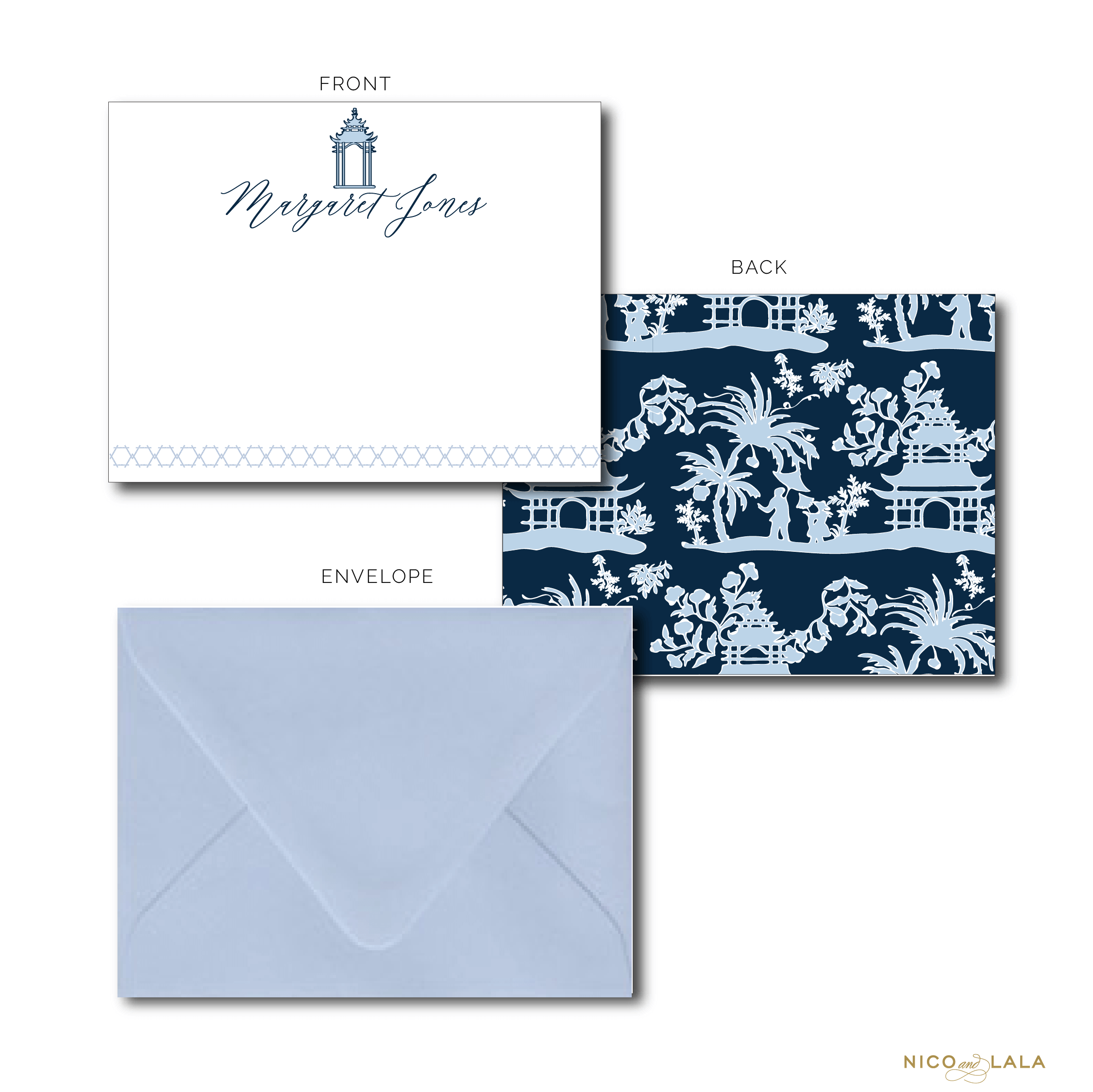 Pagoda Stationery Navy and Light Blue