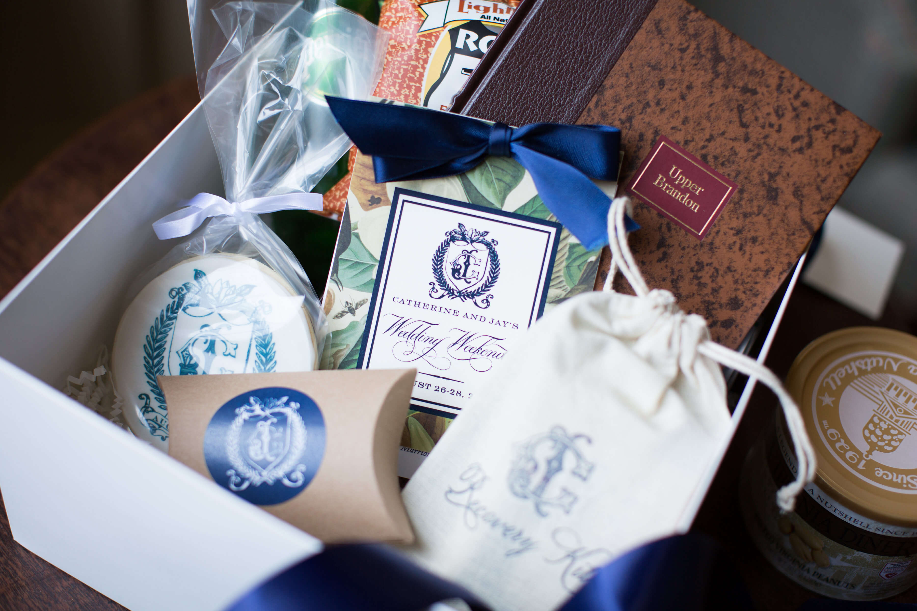 wedding welcome boxes with monogram