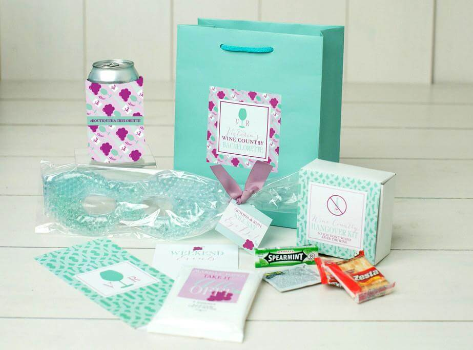 wine country bachelorette bags