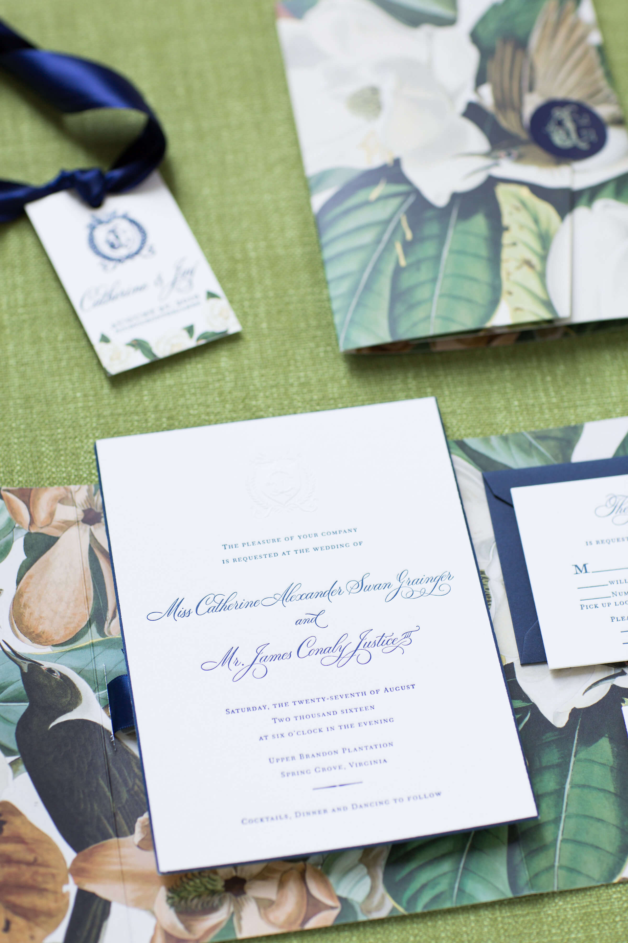 letterepress wedding invitations with wedding monogram