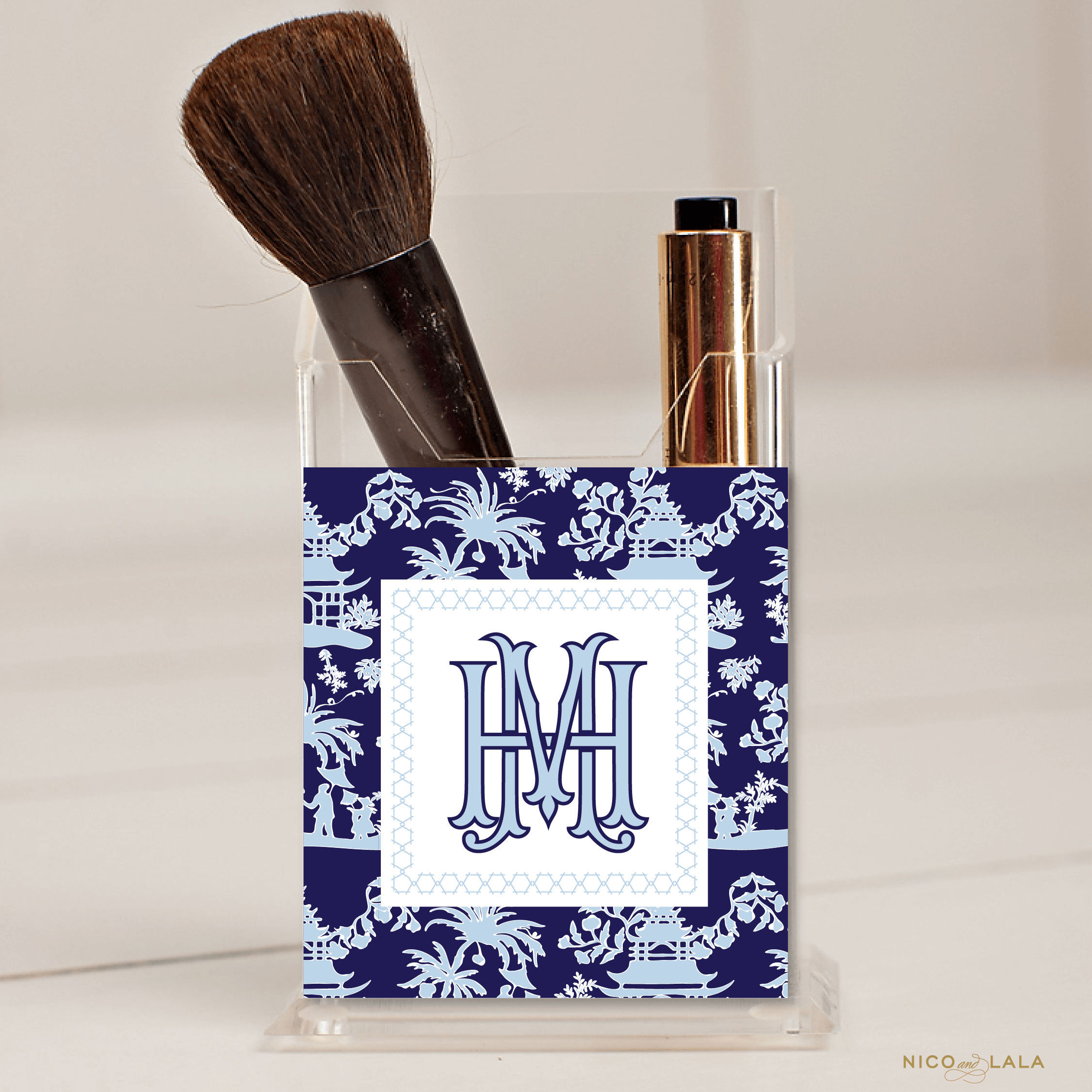 Chinoiserie Pencil Holder Navy