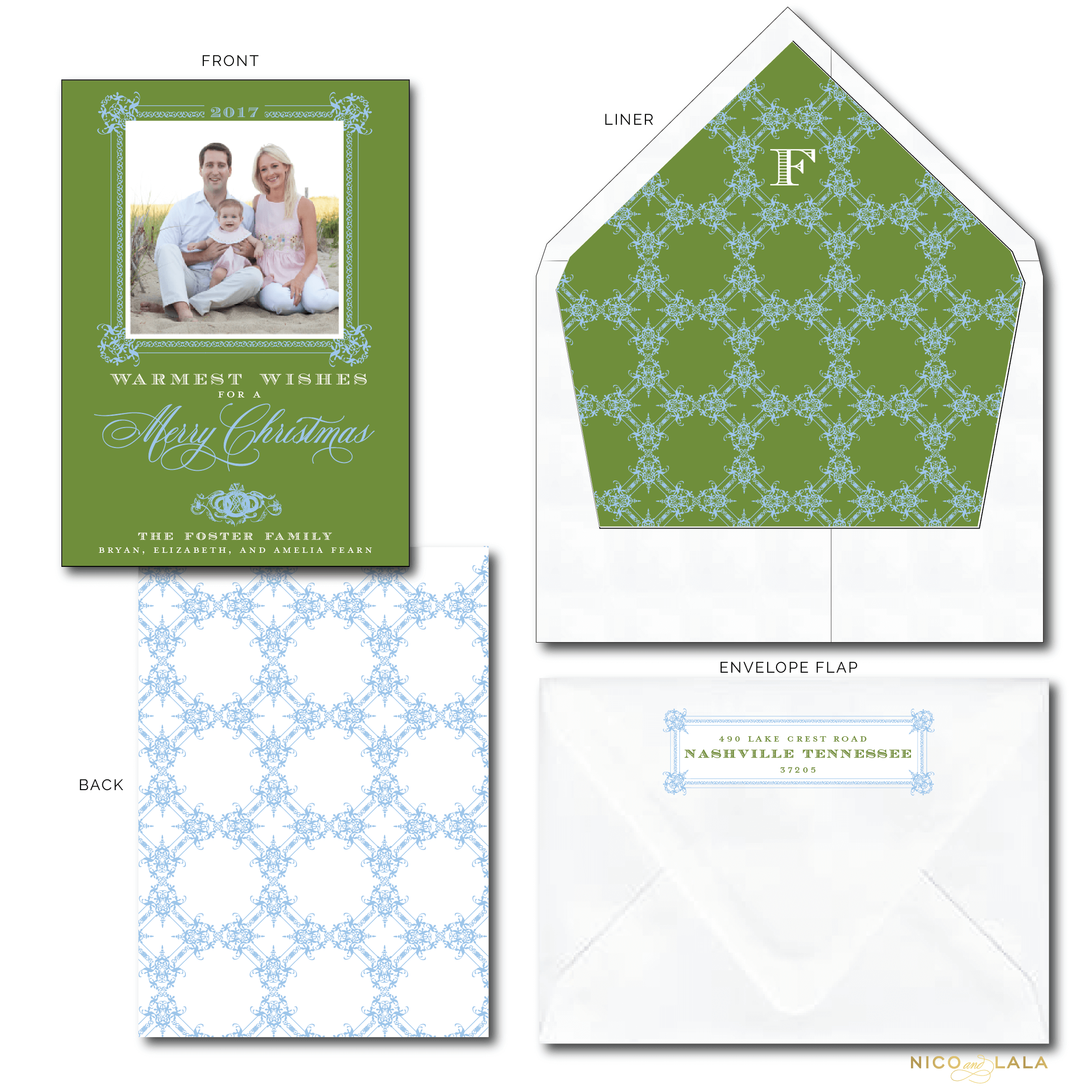Classic Christmas Card Green and Blue