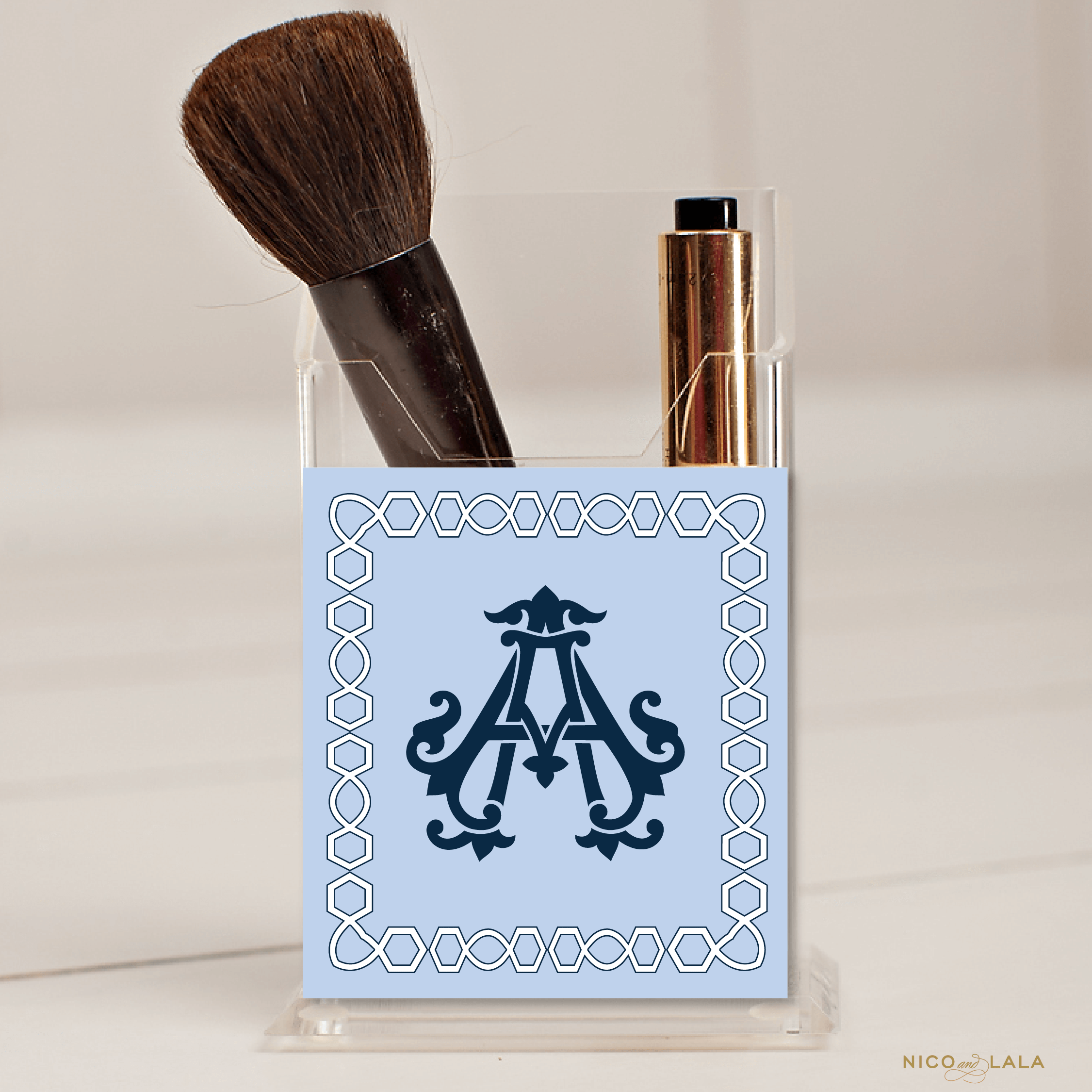Classic Monogram Pencil Holder Navy