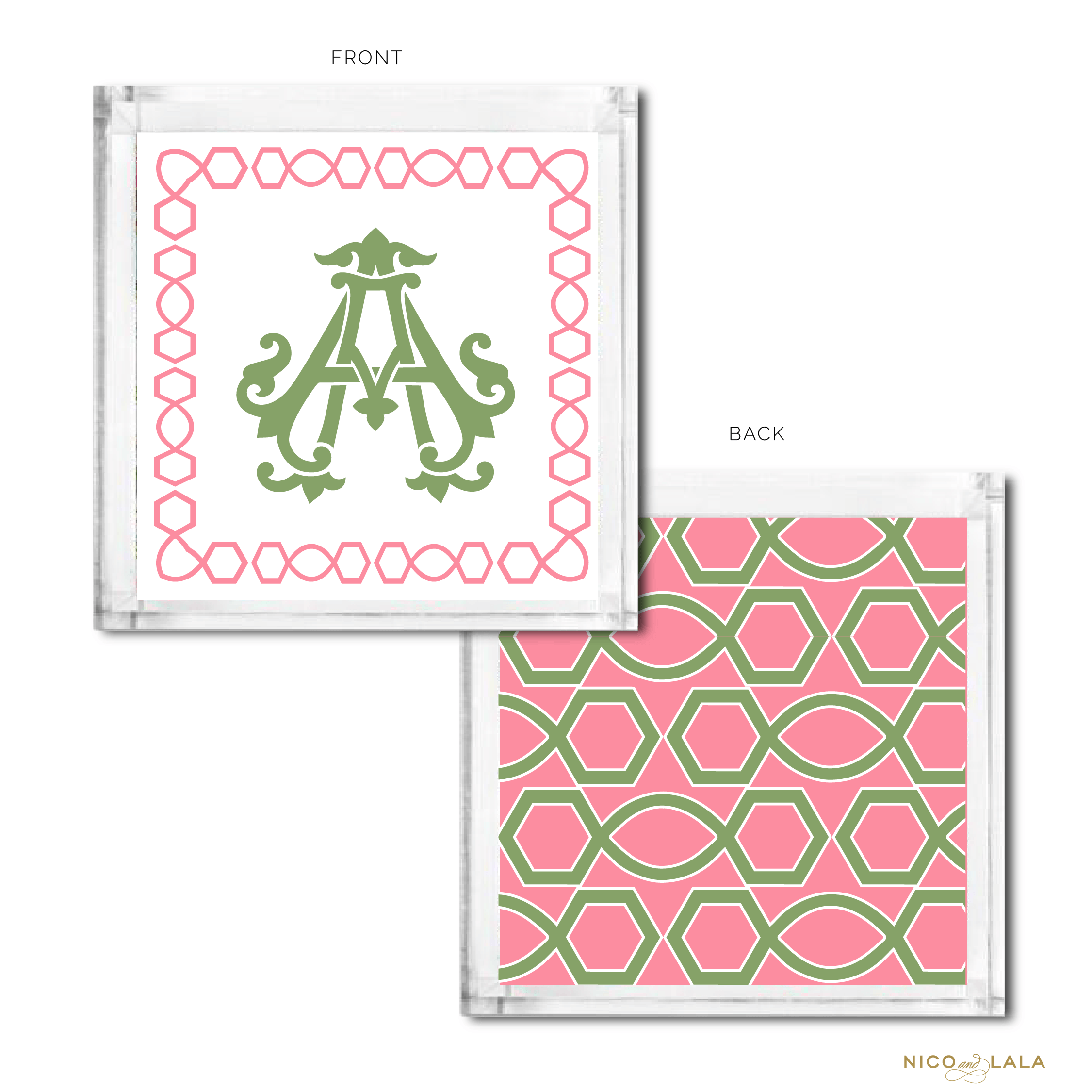 Classic Monogrammed Catch All Coral and Green
