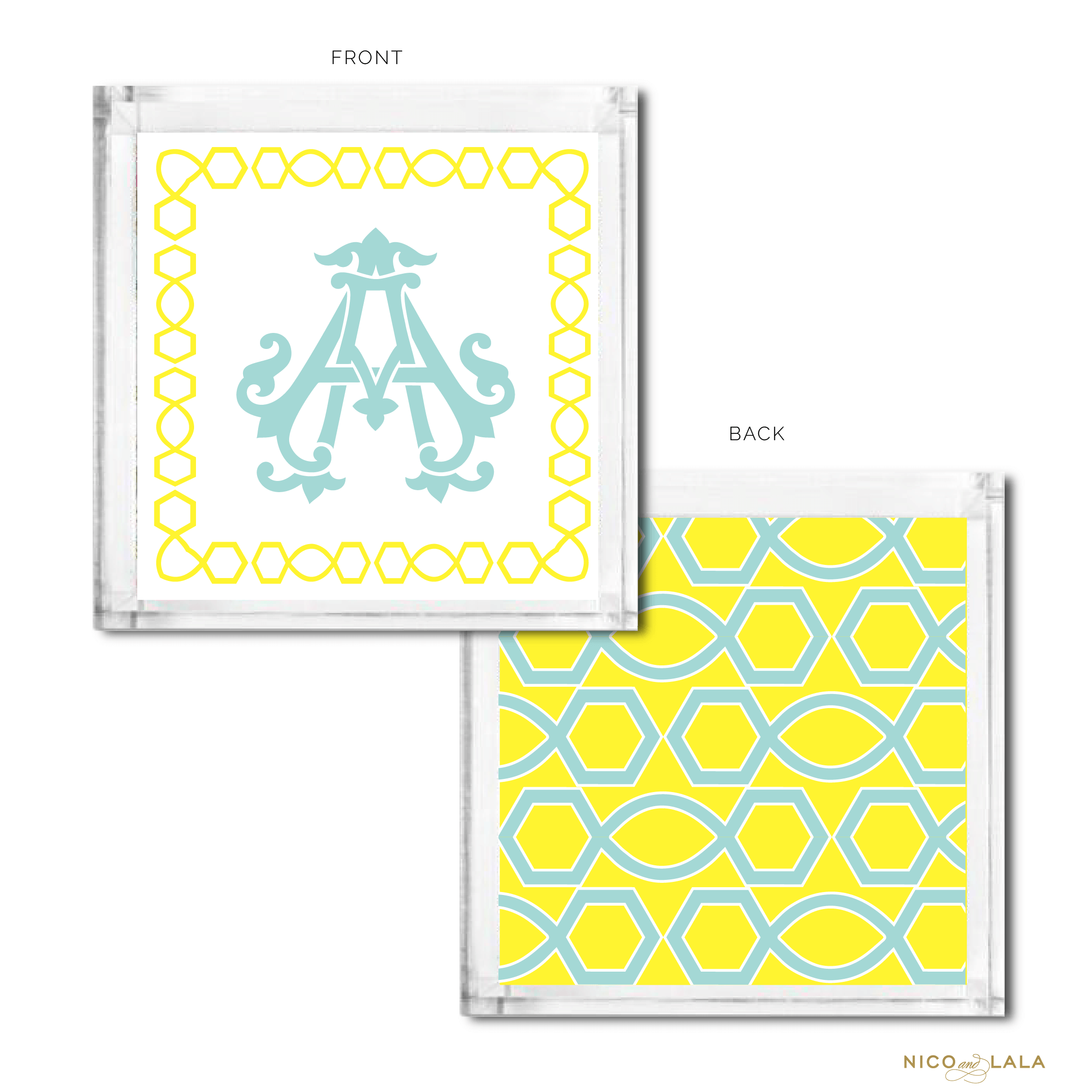 Classic Monogrammed Catch All Lemon and Pool
