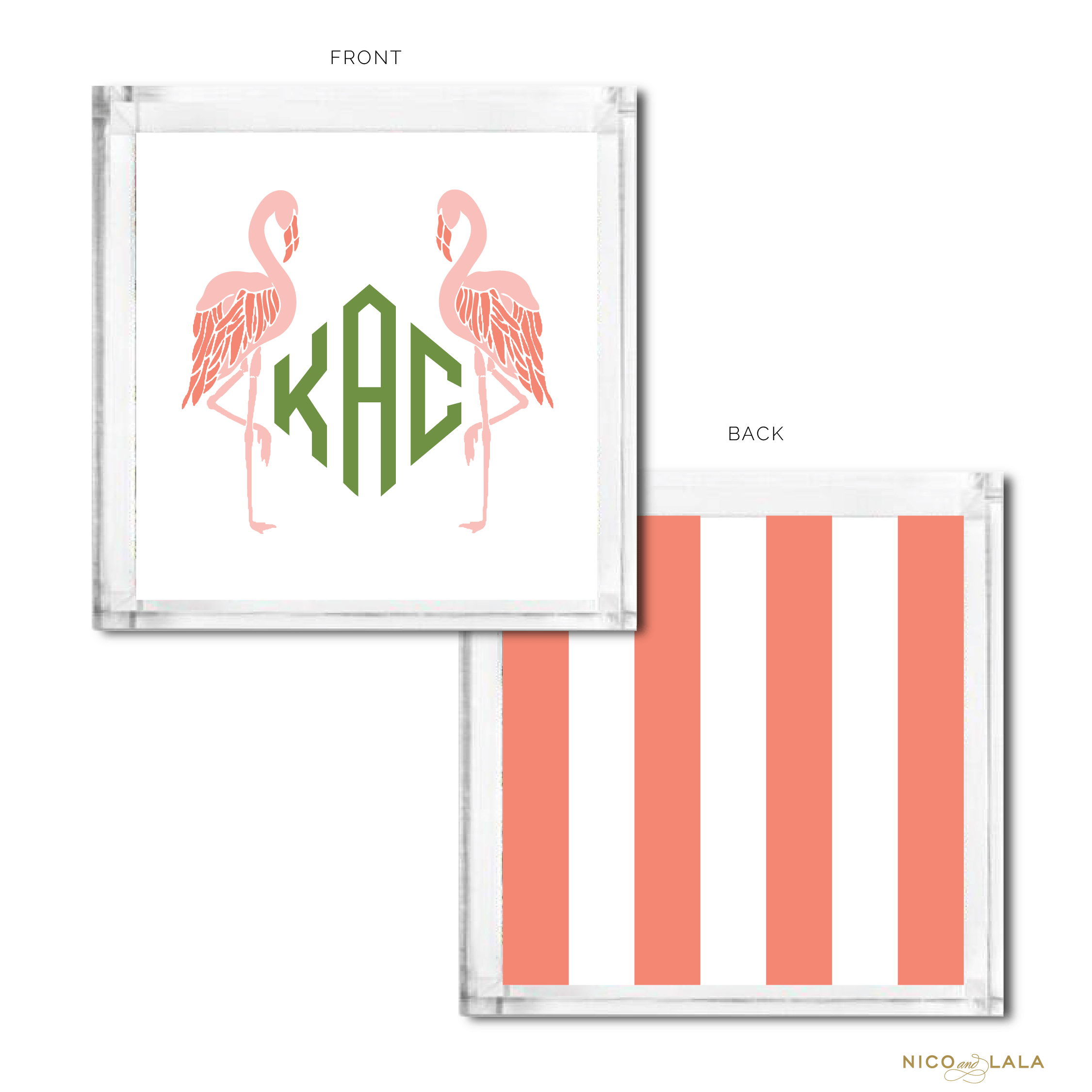 Flamingo Monogrammed Catch All Coral and Green