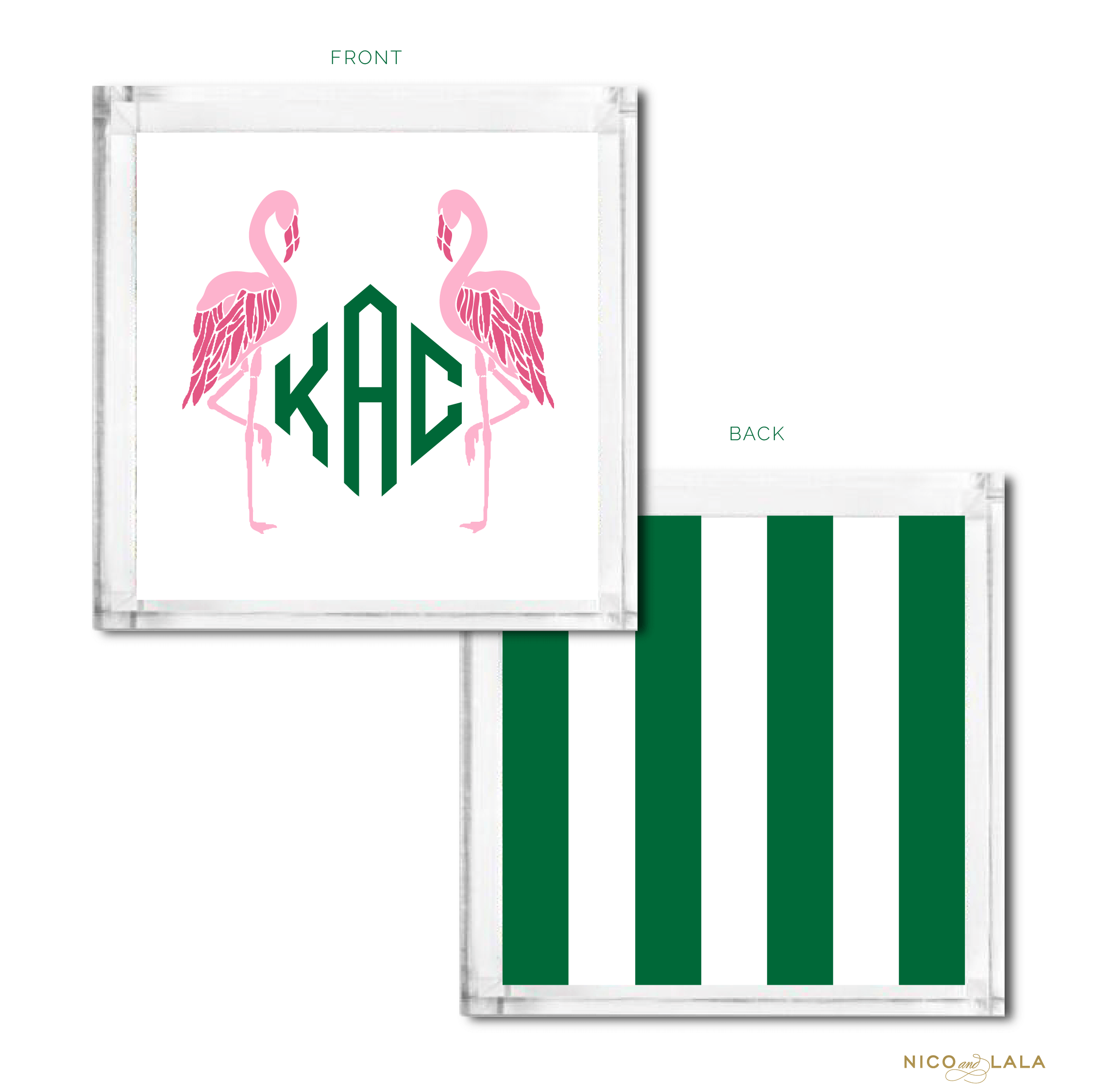 Flamingo Monogrammed Catch All Pink and Kelly