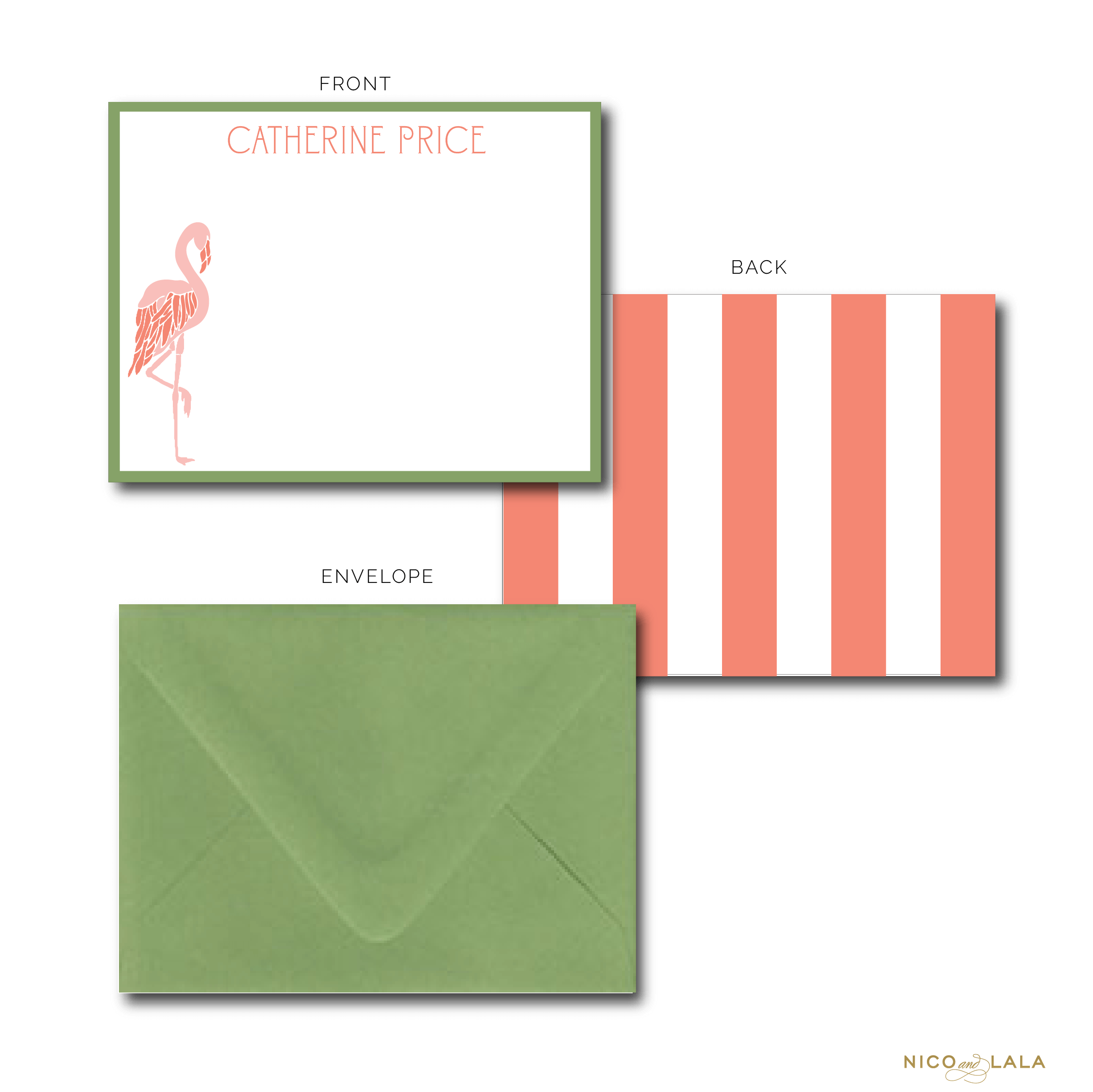 Flamingo Stationery Coral and Green