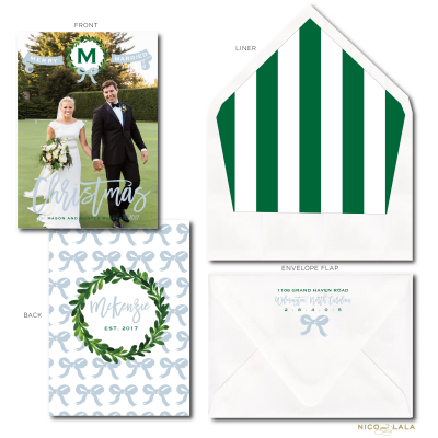 Merry Married Christmas Card Green and French Blue