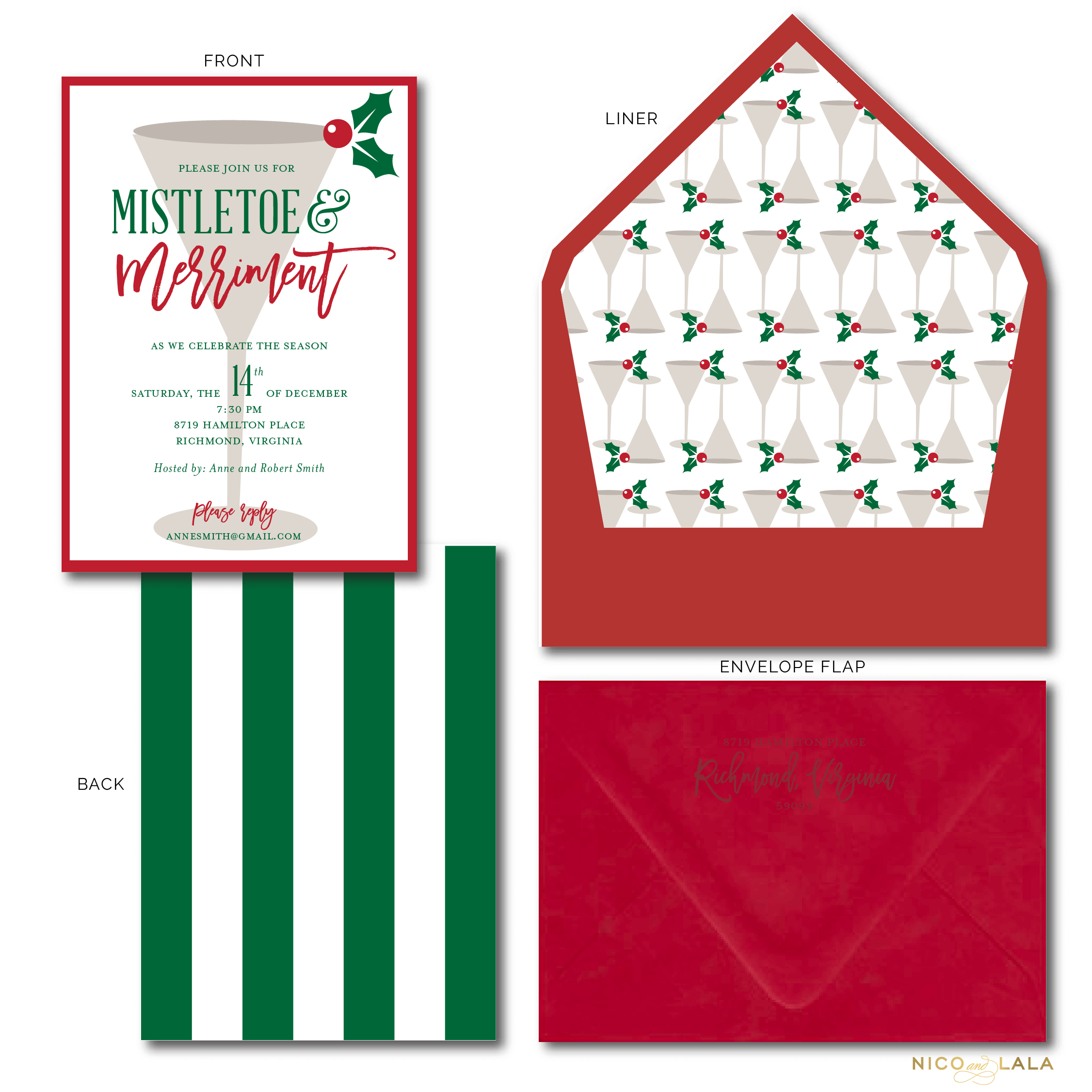 Mistletoe and Merriment Holiday Party Invitations ⋆ Nico and Lala