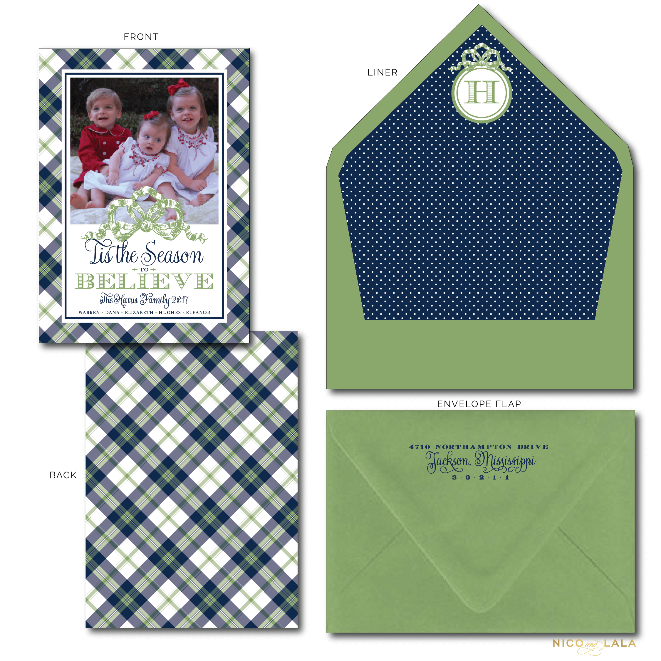 plaid believe christmas card nico and lala. Black Bedroom Furniture Sets. Home Design Ideas