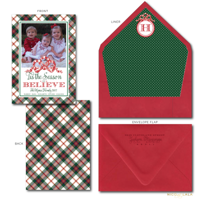 Plaid Believe Christmas Card red and green