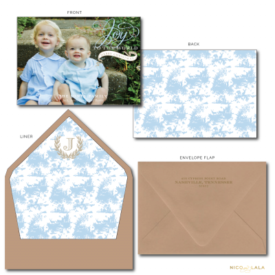Toile Christmas Card tan and blue