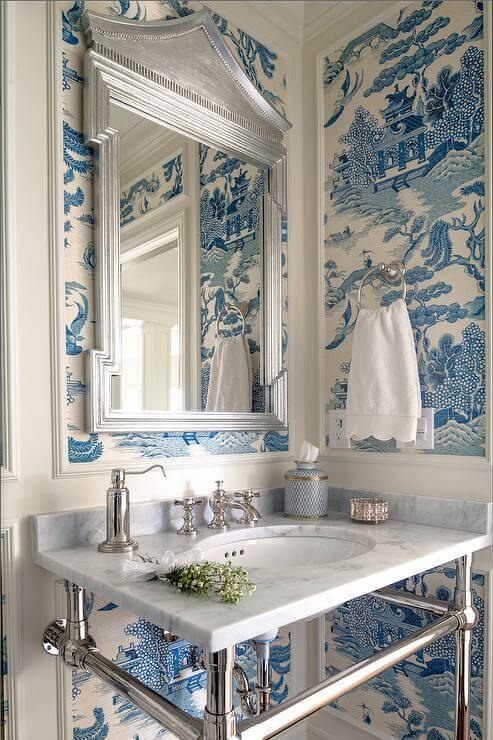 blue chinoiserie powder room pagoda mirror