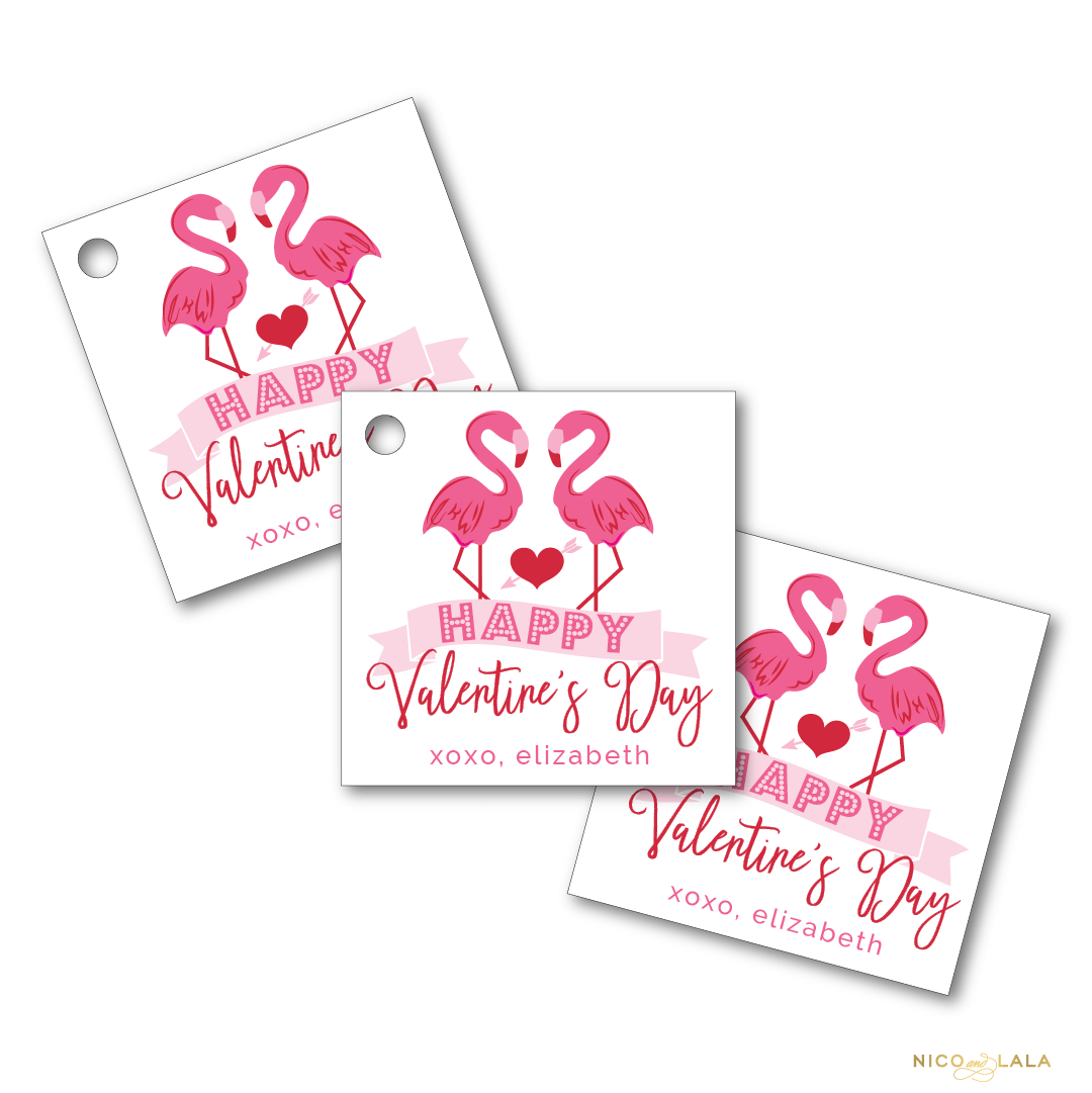 flamingo valentines day tags