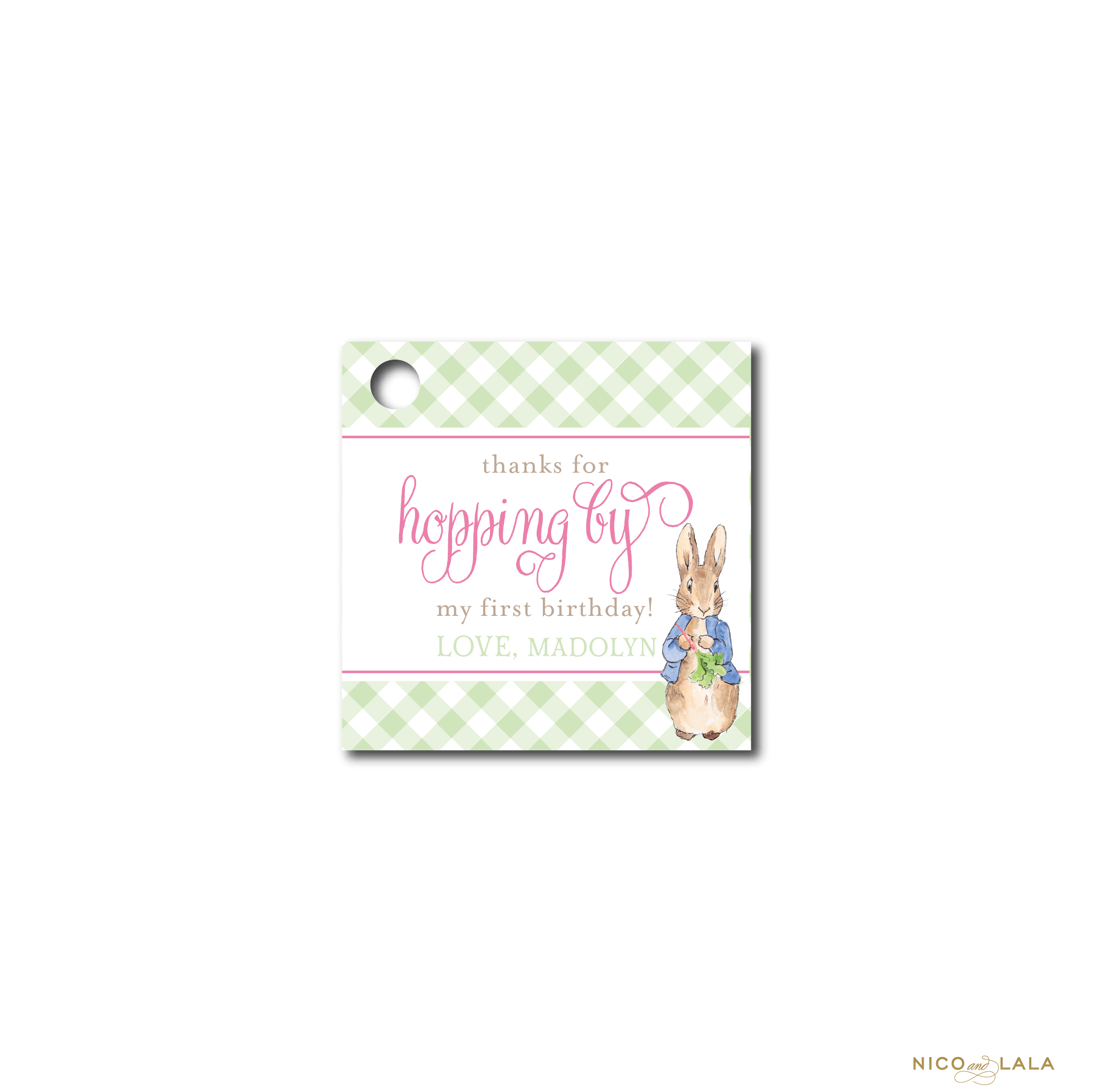 girl Peter Rabbit Birthday Favor Tags