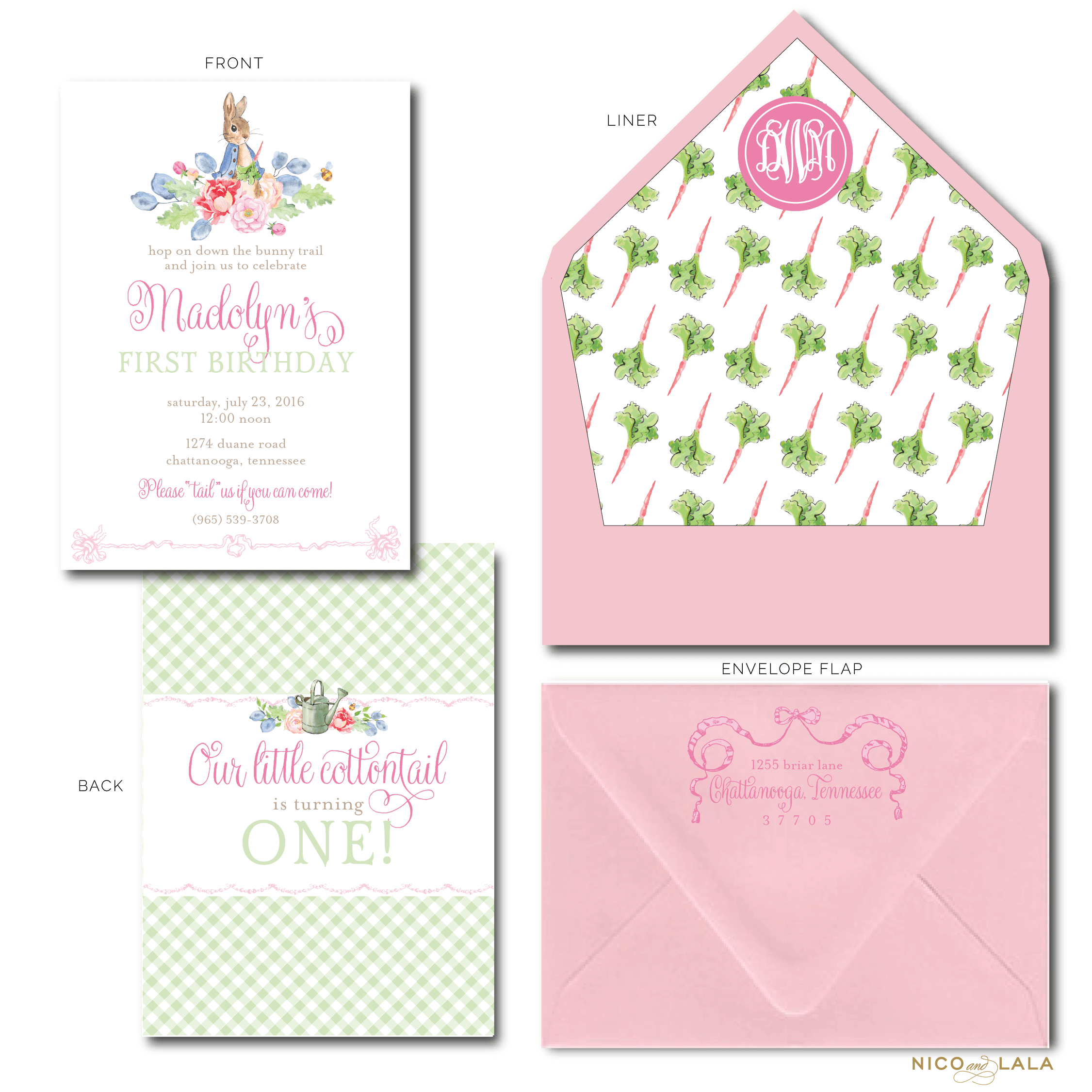 Girl Peter Rabbit Birthday Invitations