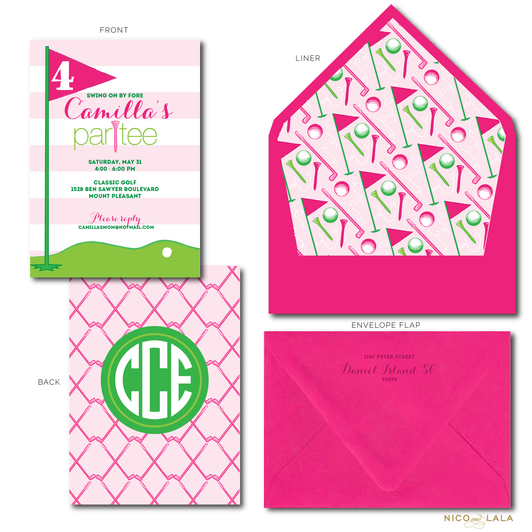 Girly golf birthday invitations nico and lala girly golf birthday invitation filmwisefo