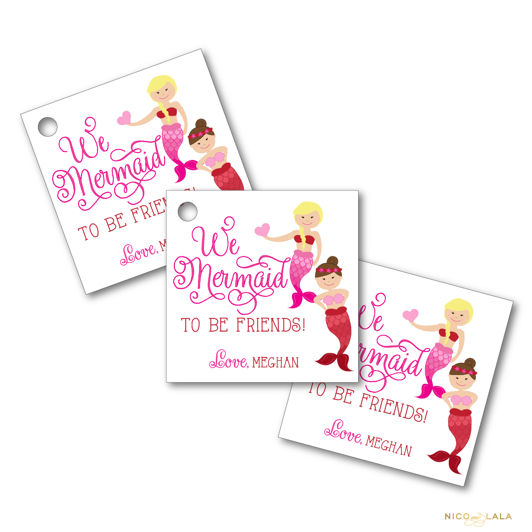 mermaid valentines day tags