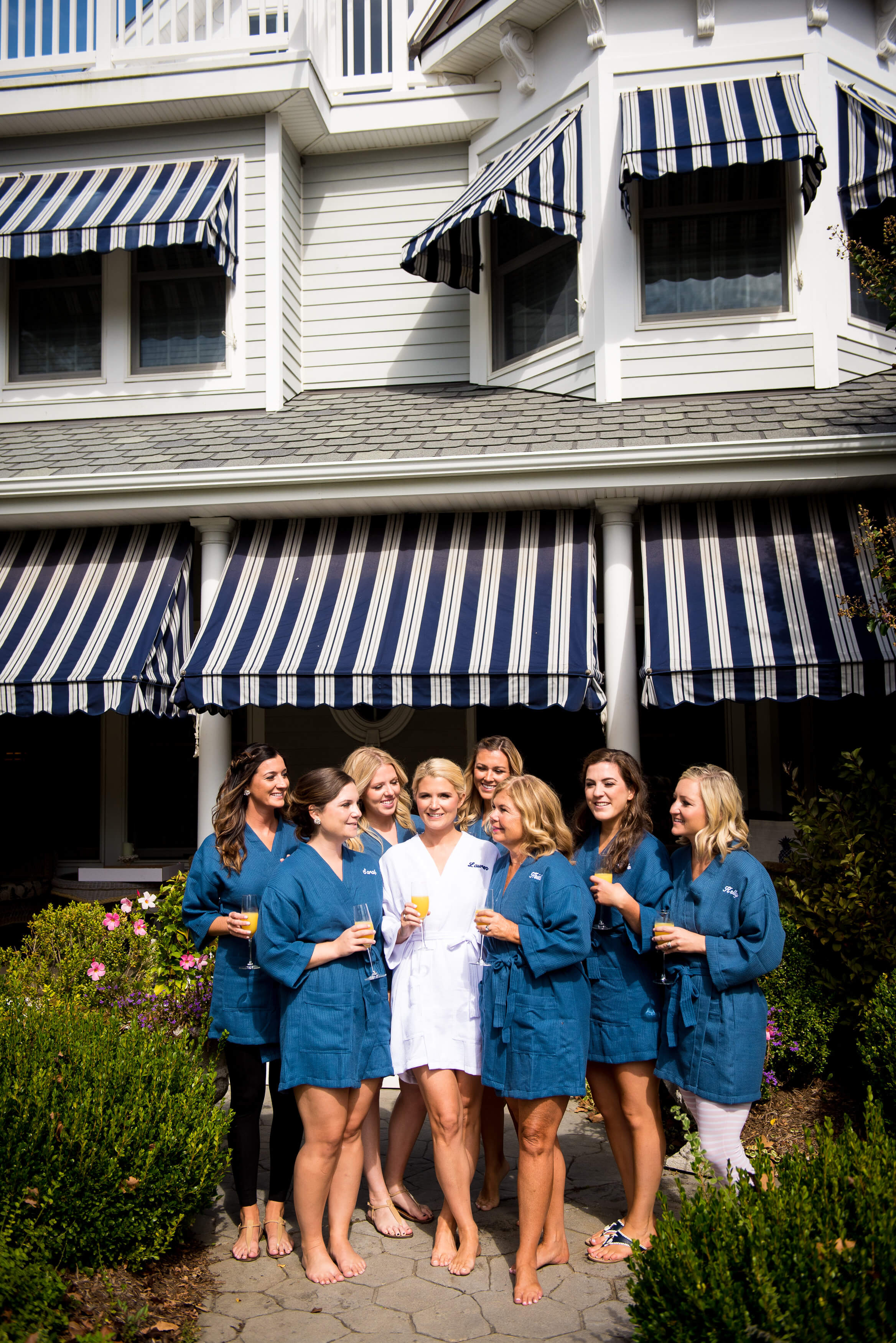 navy and white robes for bridal party