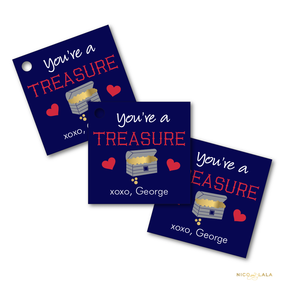 pirate valentines day tags