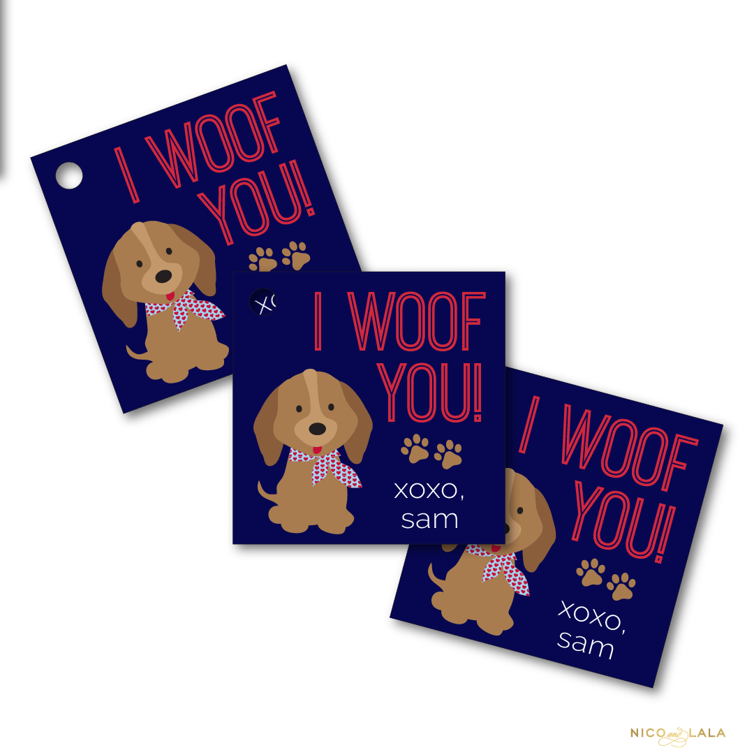 puppy valentines day tags