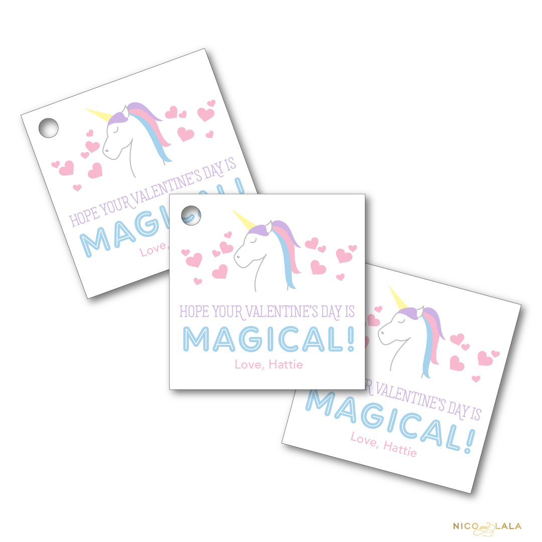 unicorn valentines day tags