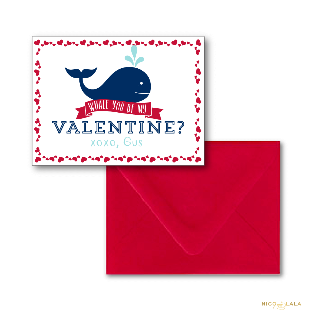 whale valentines day cards