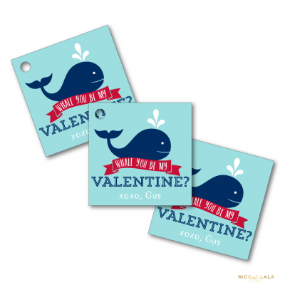 whale valentines day tags