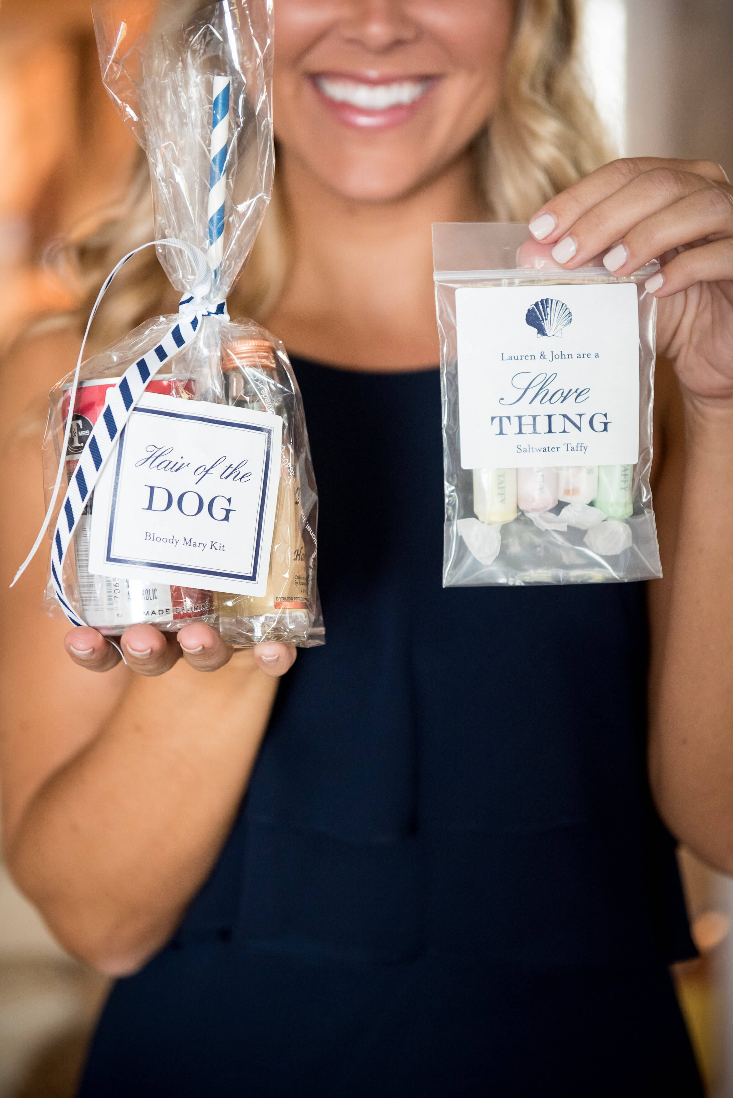 navy and white welcome bags