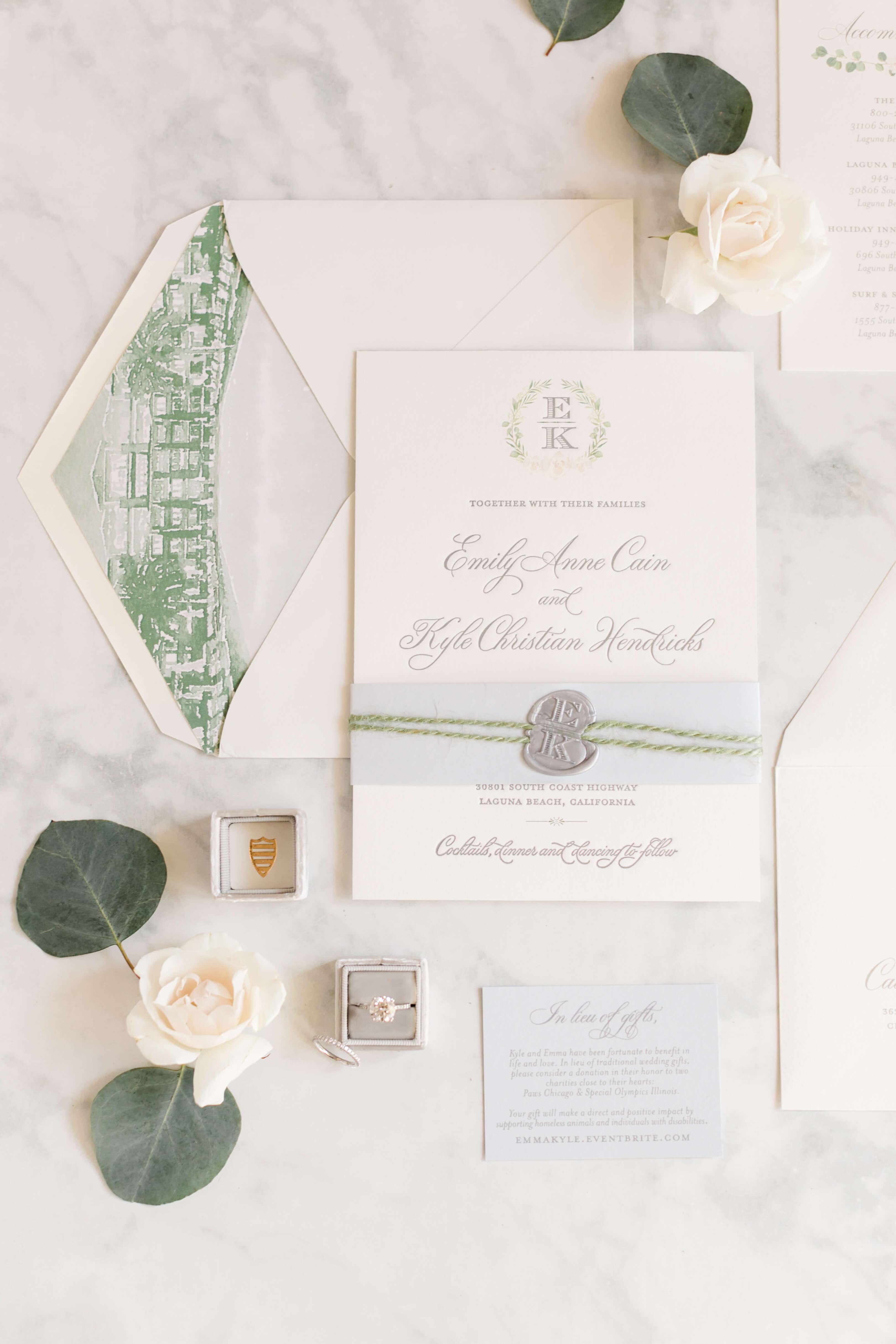 wedding invitations with monogram wax seal