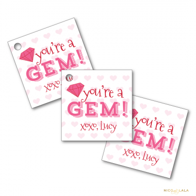 youre a gem valentines tags