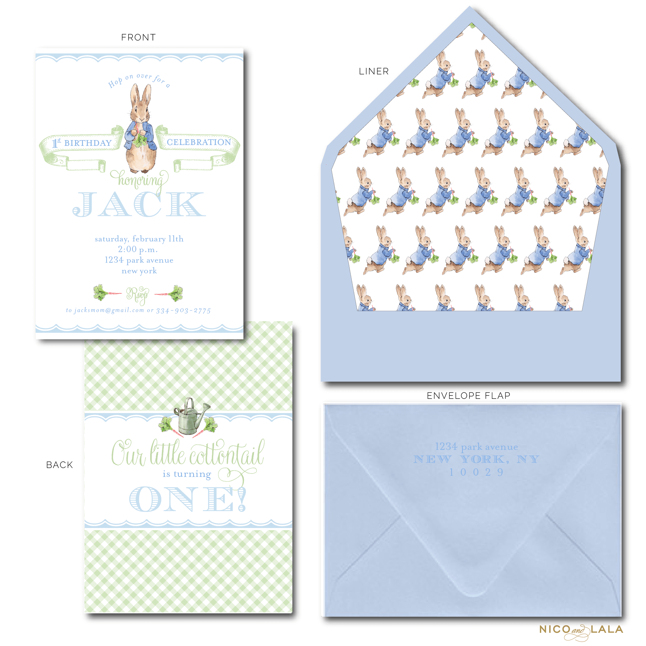 Boy Peter Rabbit invitations