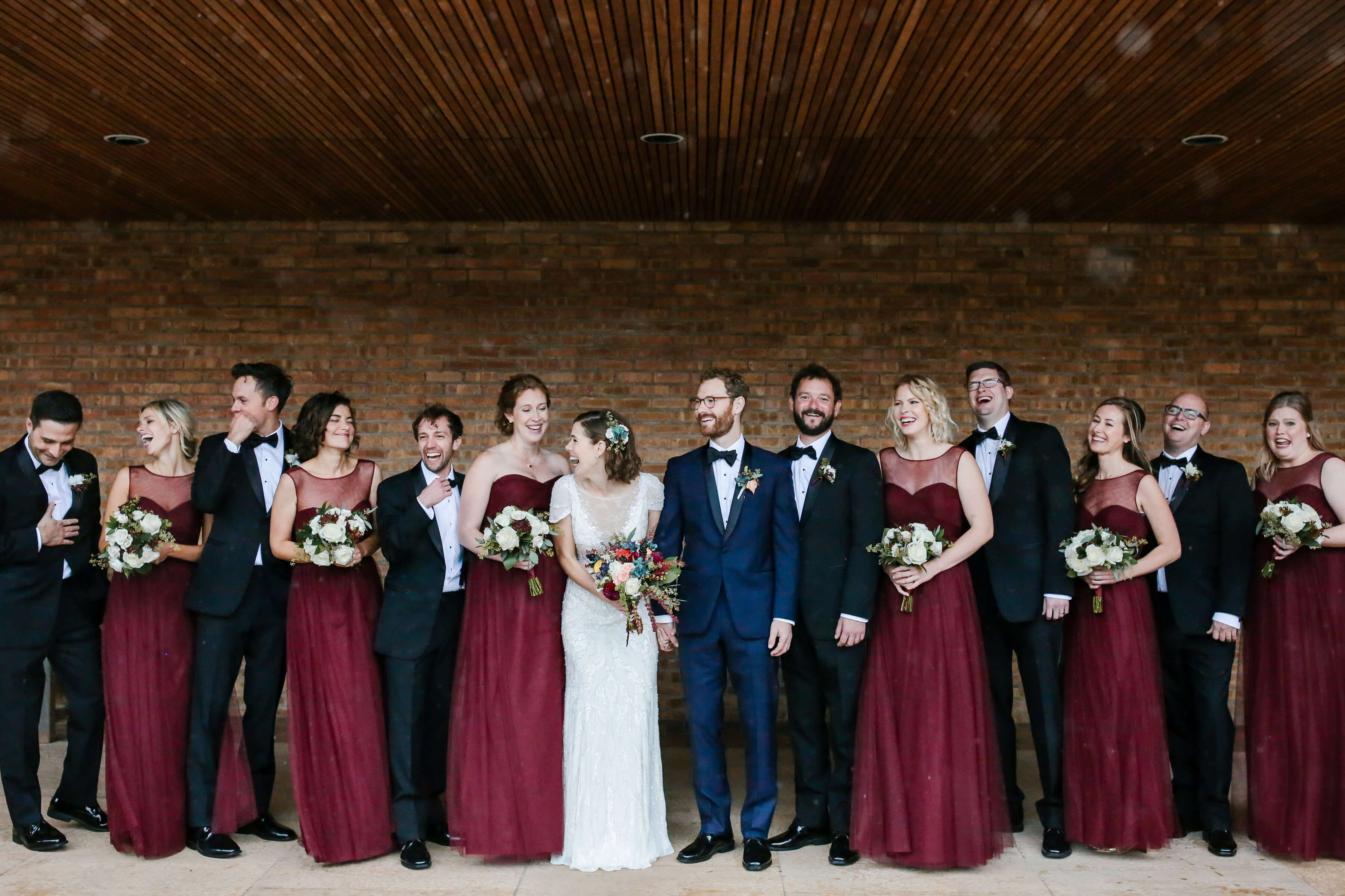 Burgundy-Bridesmaid-Dresses-Navy-Suits