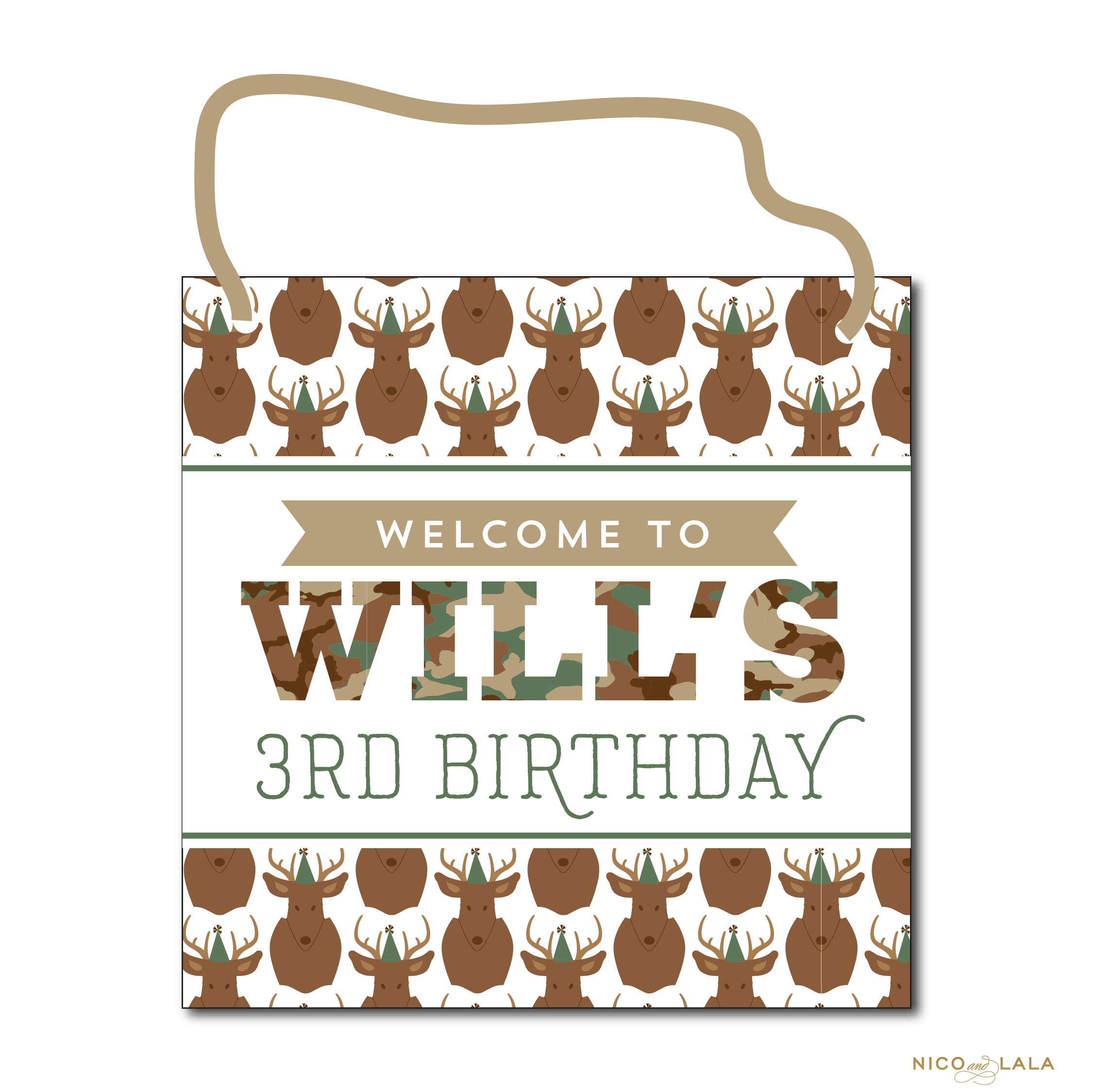 camo birthday door sign