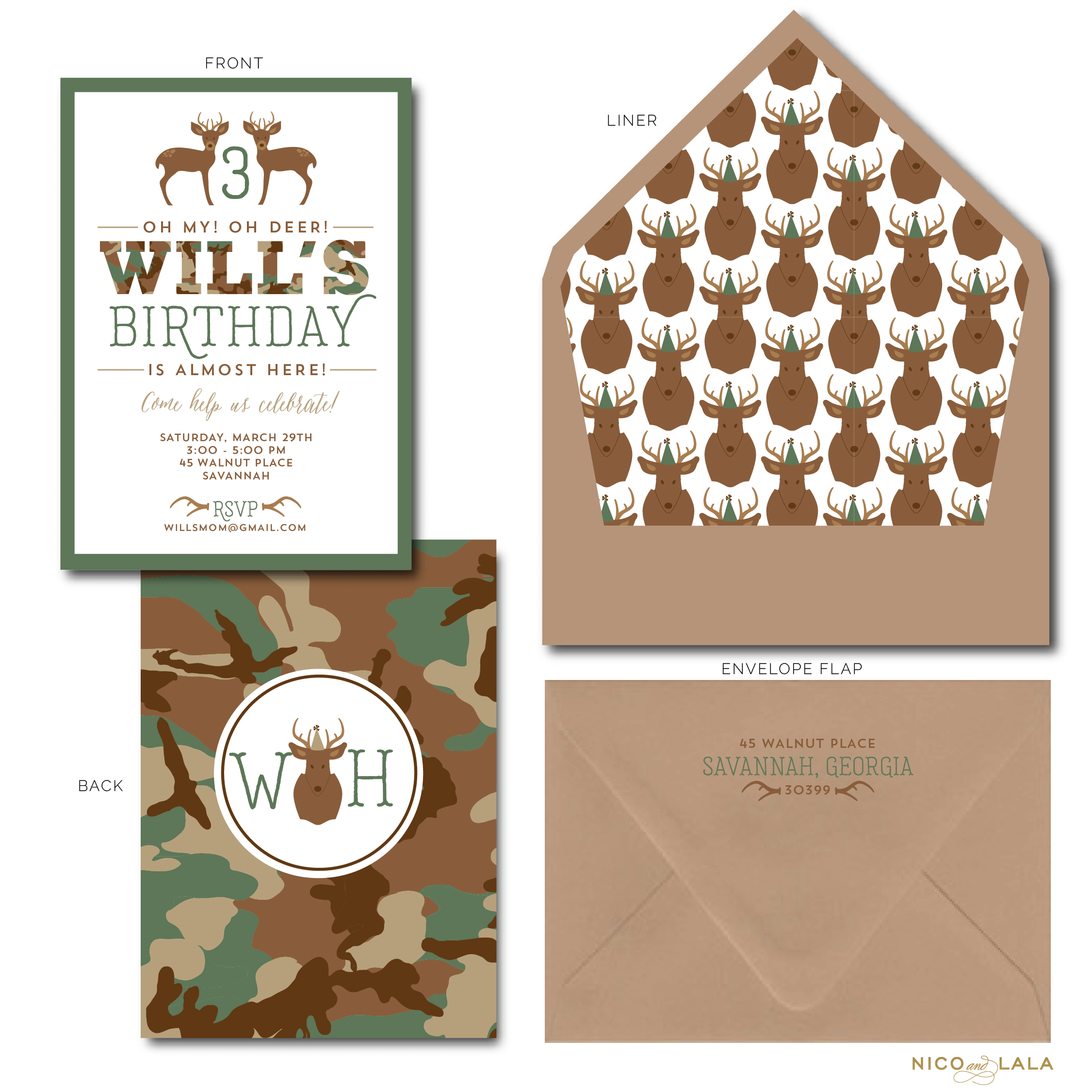 Camouflage birthday invitation
