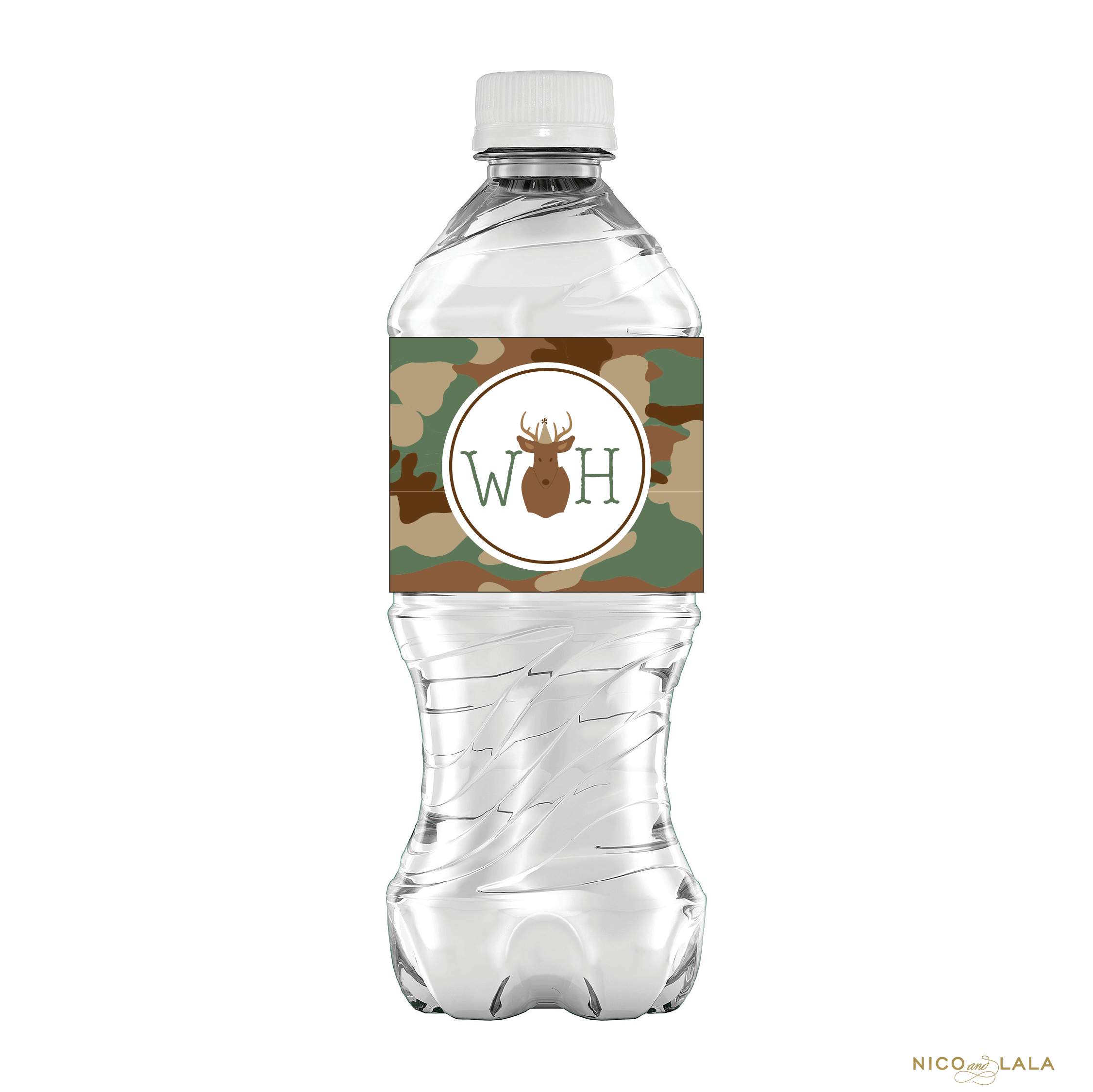 Camouflage water bottle label