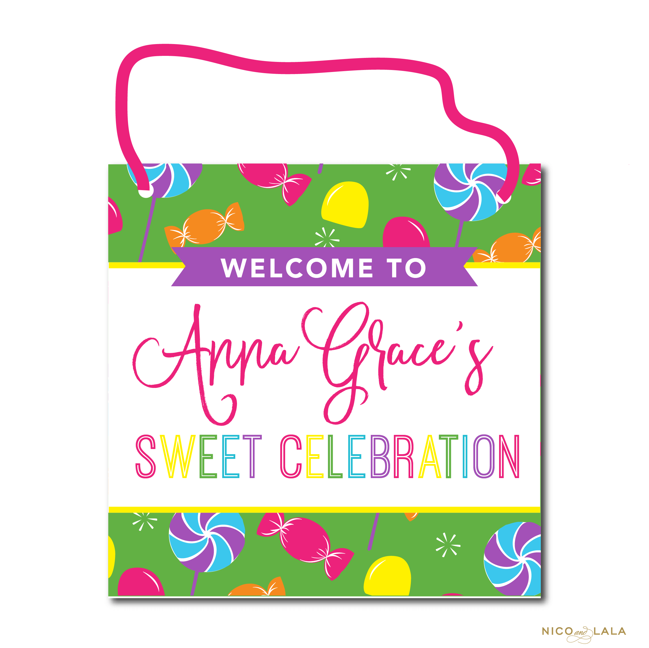 Candy Land Birthday Sign