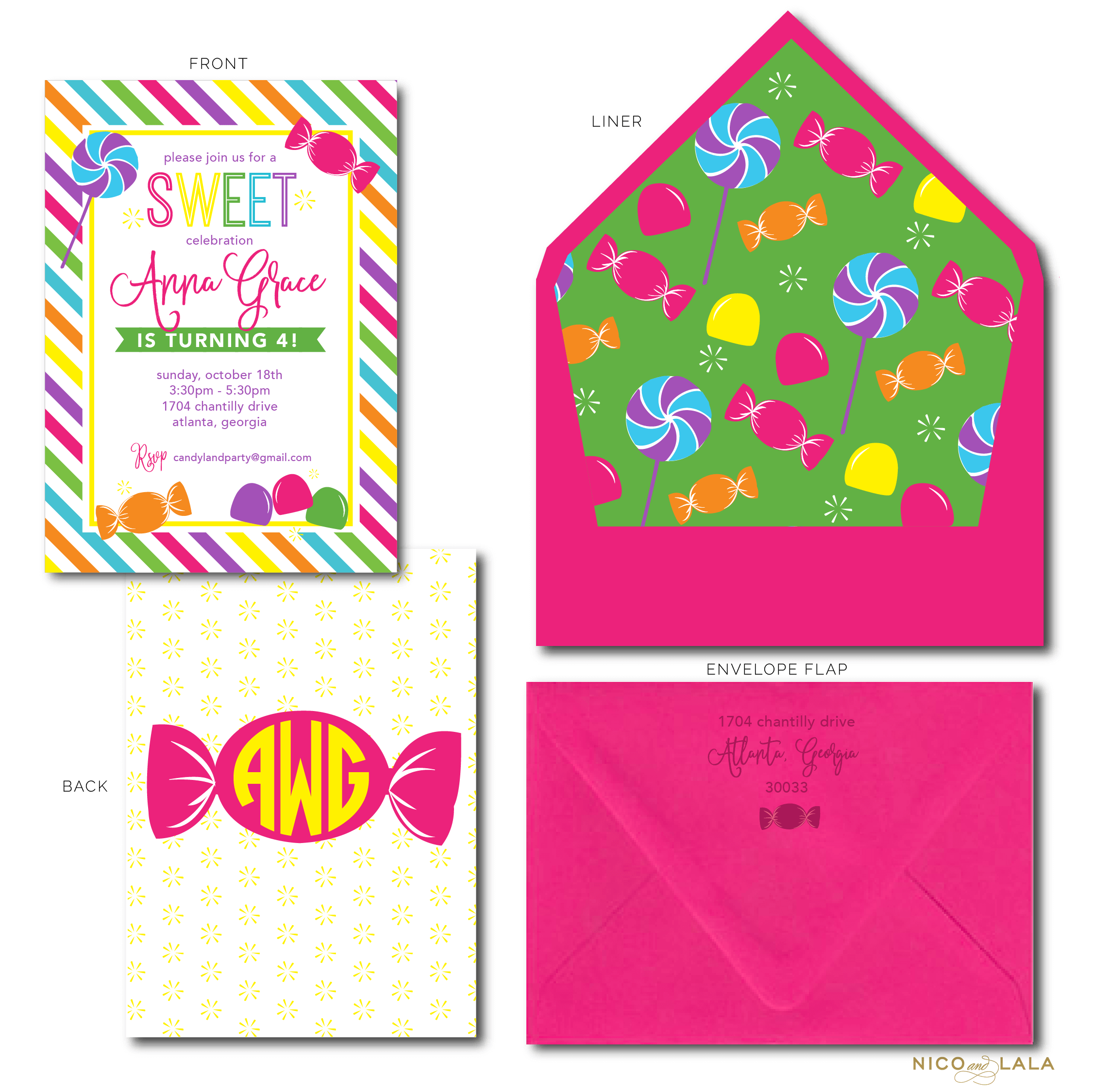 Candy land Birthday Invitations