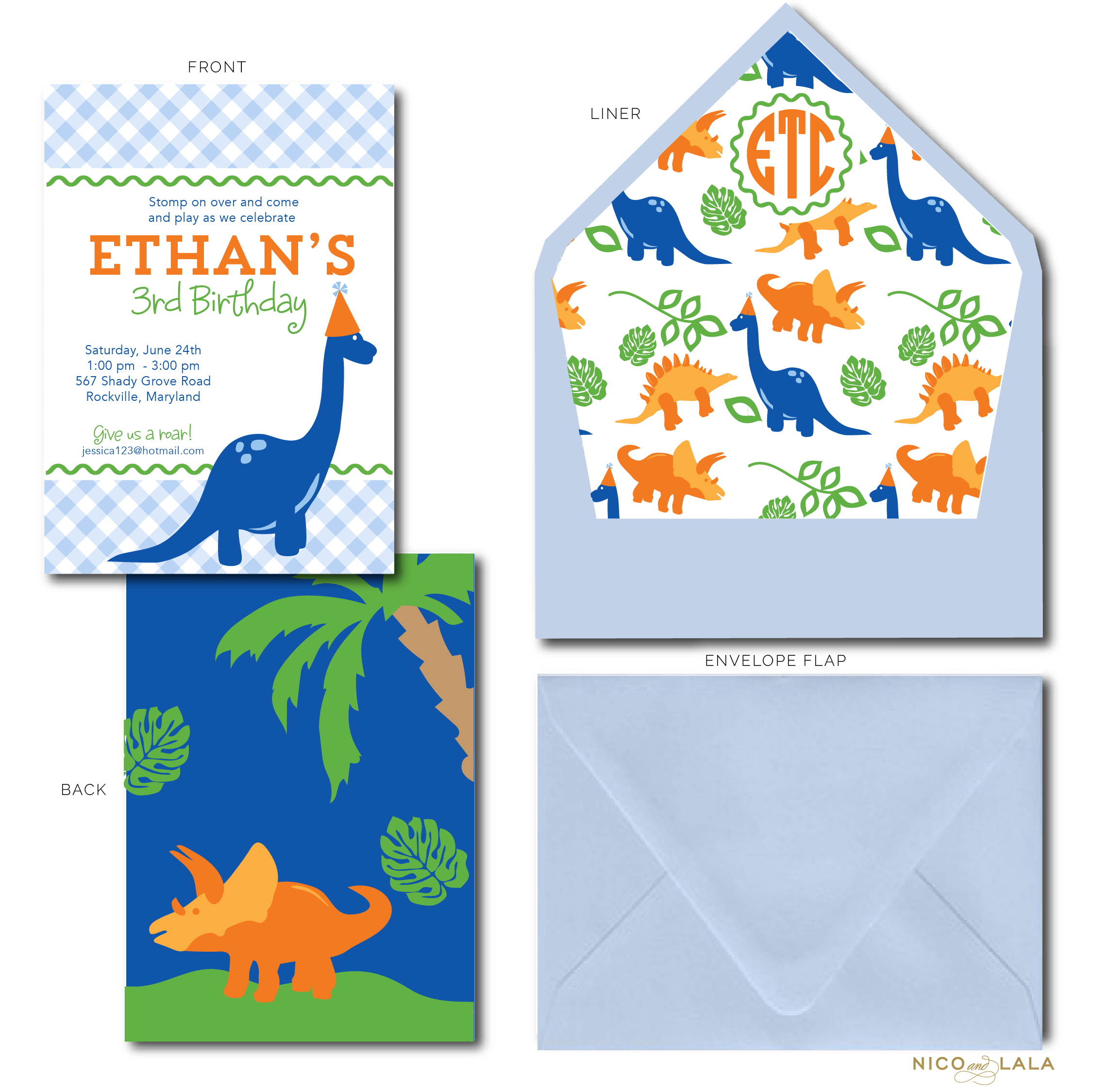 Dinosaur Birthday Invitations Nico And Lala